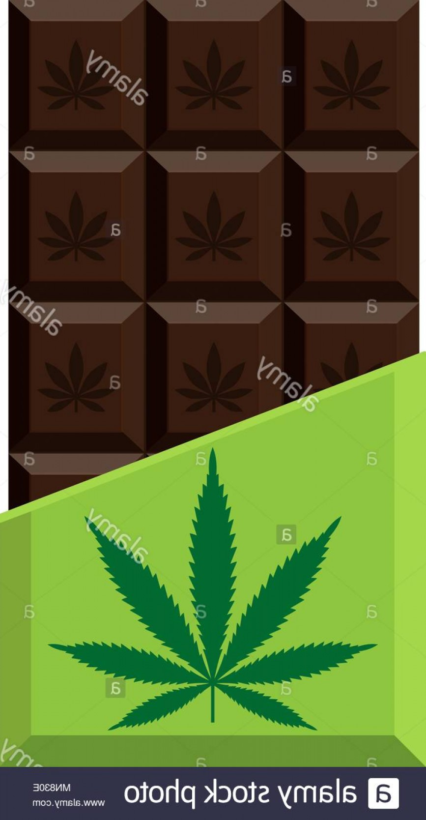 Chocolate Vector Plant: Chocolate Bar With Marijuana Leaf Narcotic Sweets Isolated Vector Illustration On White Background Image