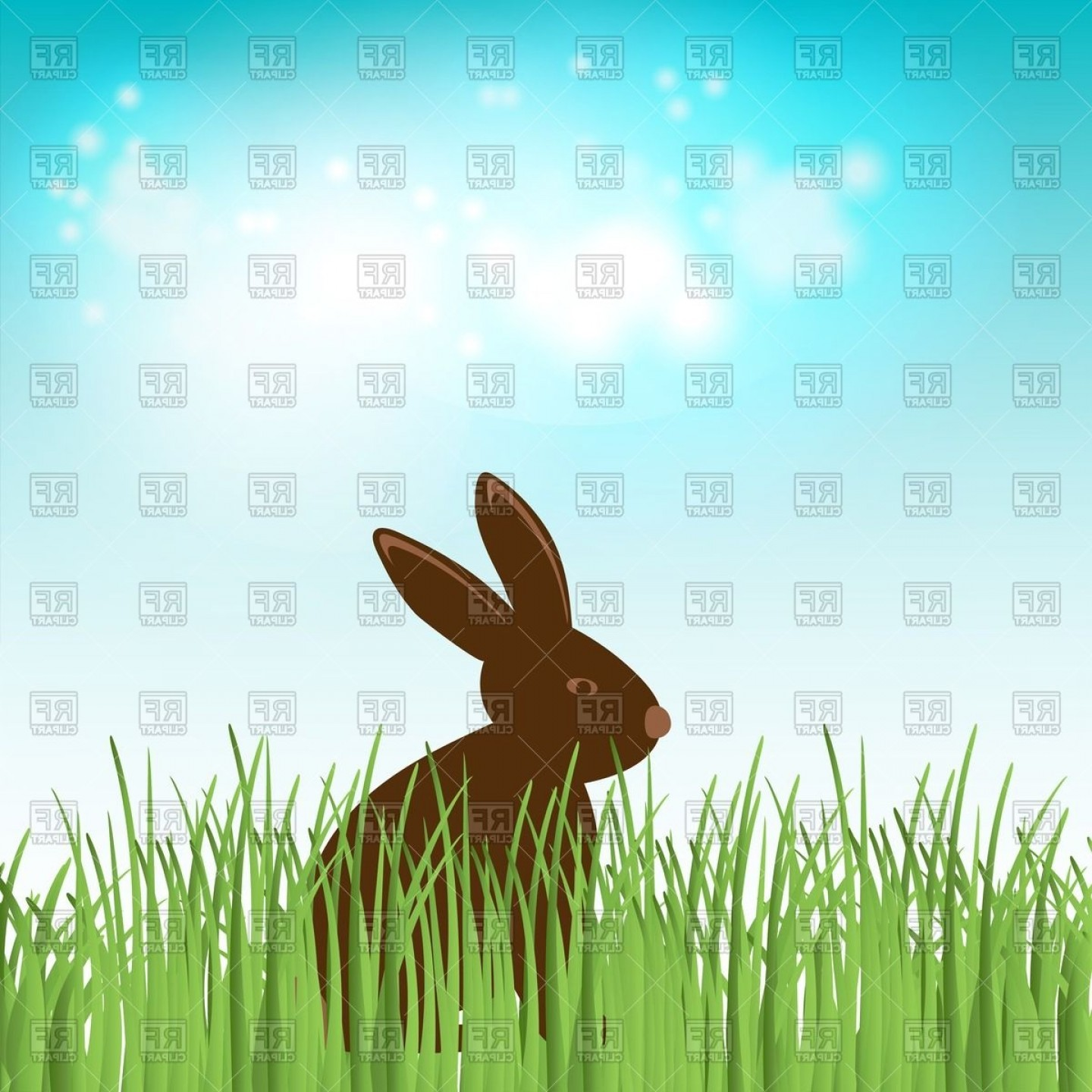 Chocolate Vector Plant: Chocolate Bunny In Green Grass On The Sky Background Vector Clipart