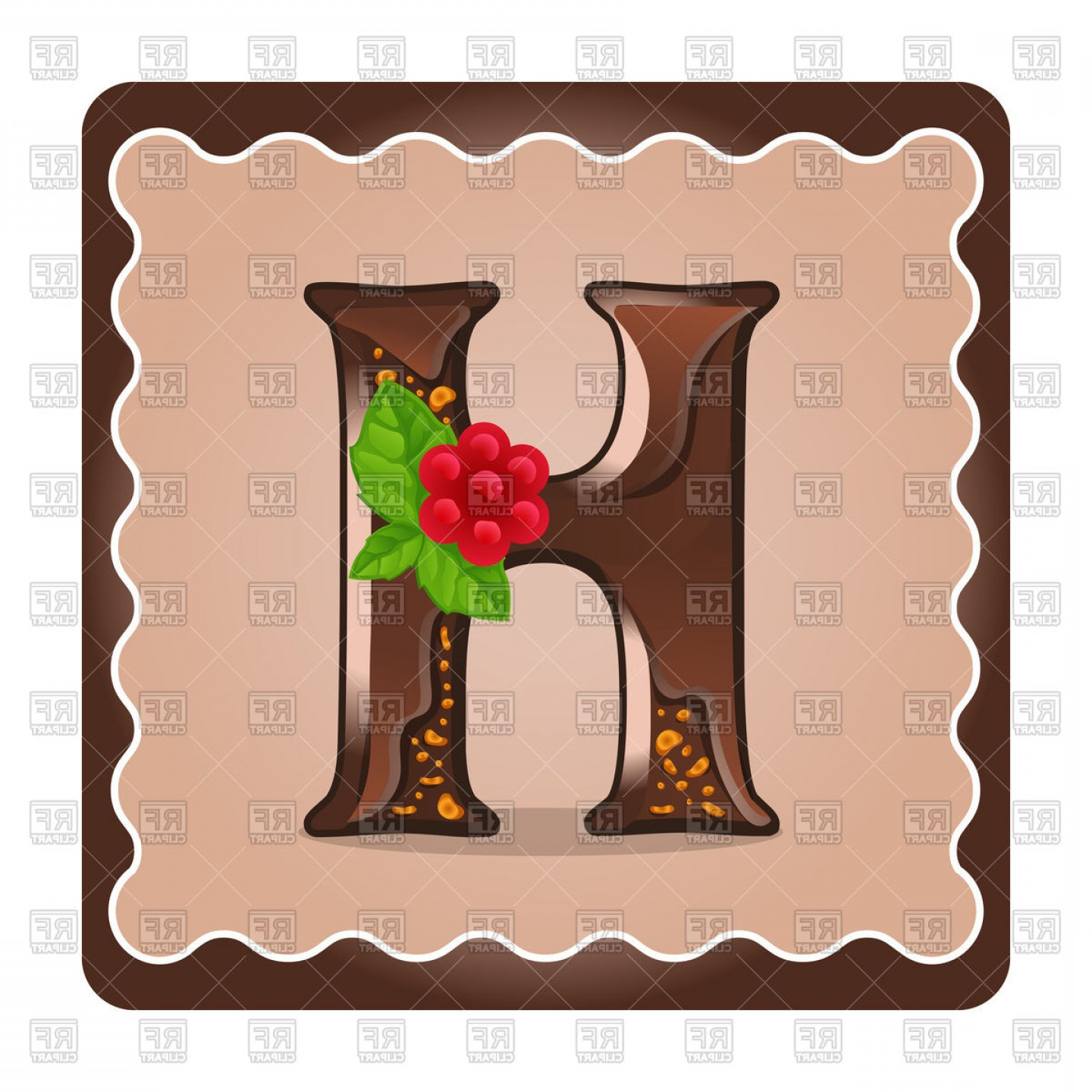 Chocolate Vector Plant: Chocolate Letter H Vector Clipart