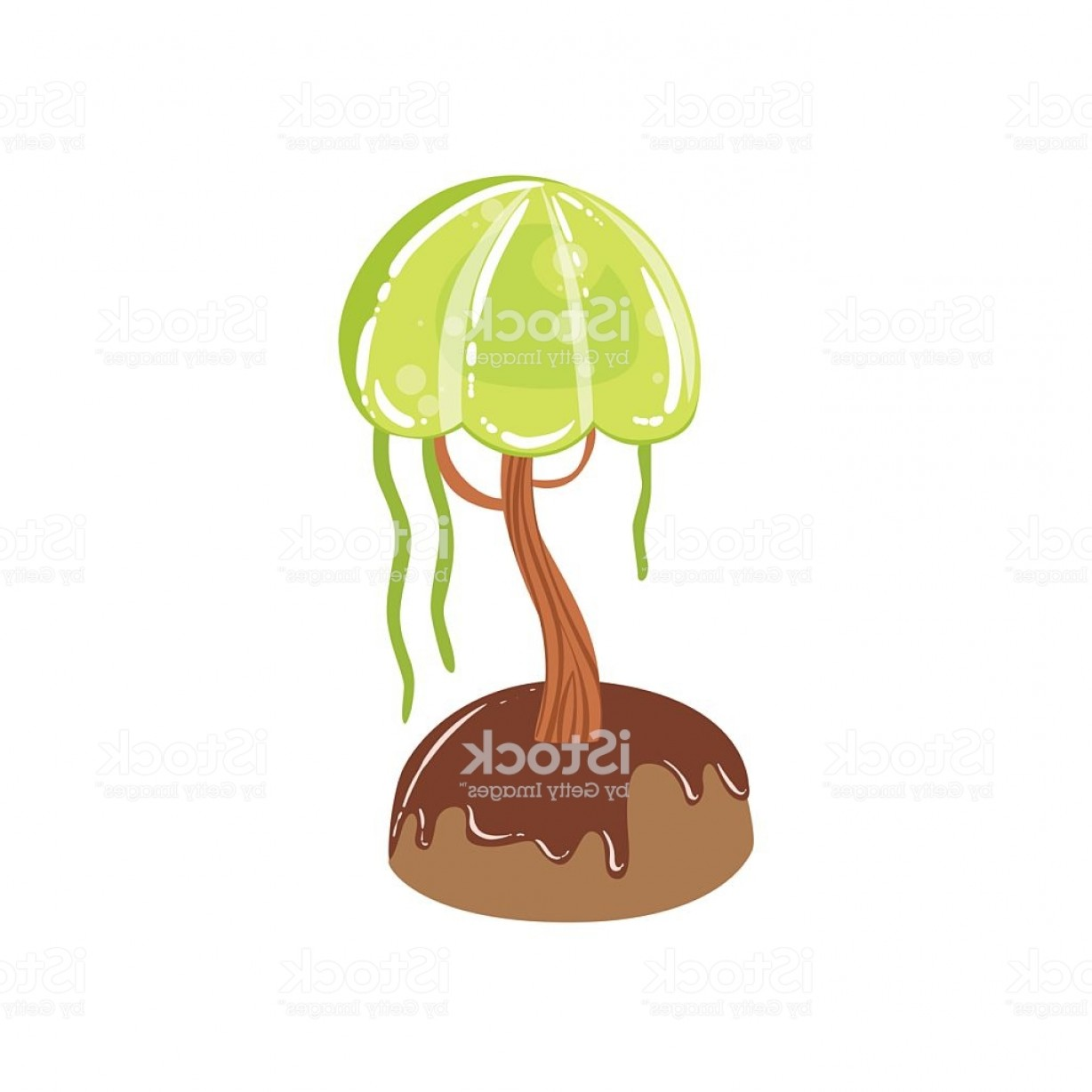 Swamp Vector Art: Chocolate Swamp Tree With Jelly Crown Fantasy Candy Gm