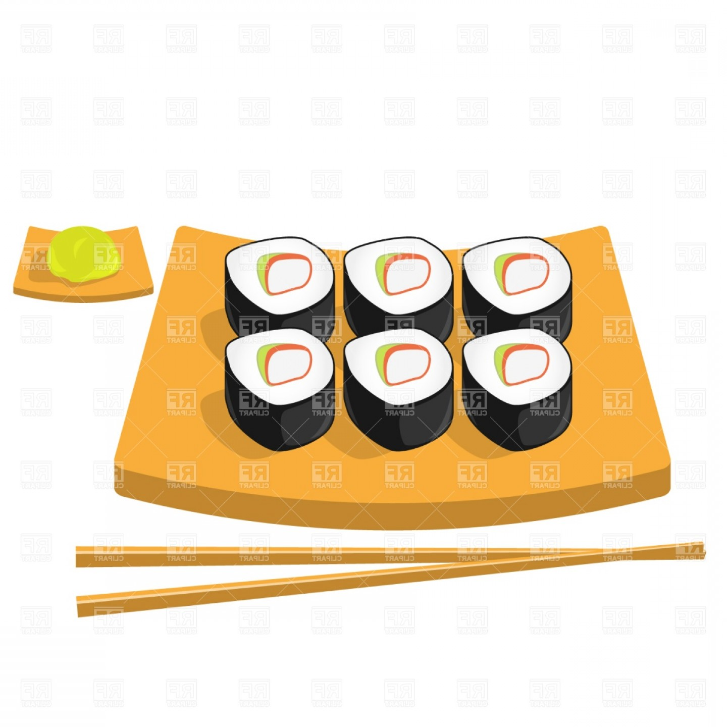 Sushi Vector Art: Chopsticks Wasabi And Roll Sushi Vector Clipart