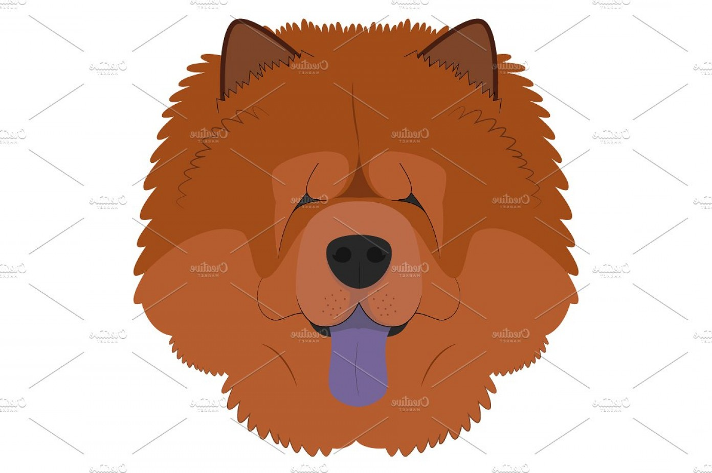 Double Boxer Dog Vector: Chow Chow Dog Vector Illustration