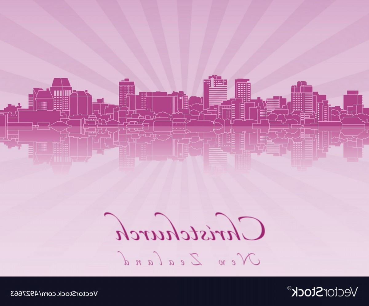 Purple Orchid Vector: Christchurch Skyline In Purple Radiant Orchid Vector