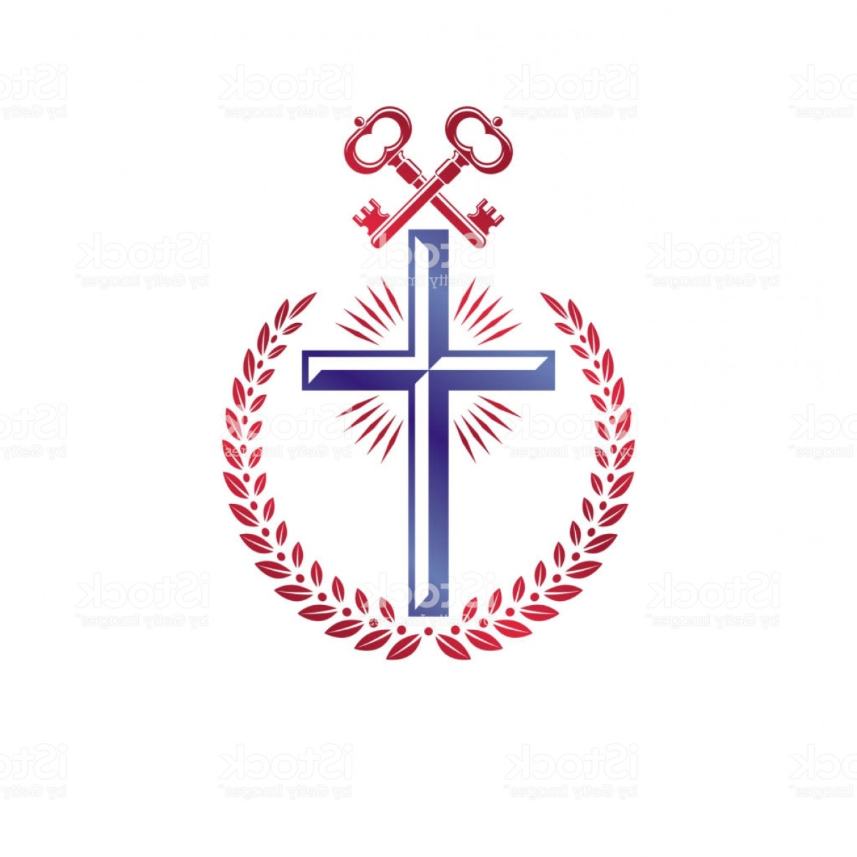 Faith Lions Vector Art Images: Christian Cross Decorative Emblem Composed With Security Keys Heraldic Vector Gm