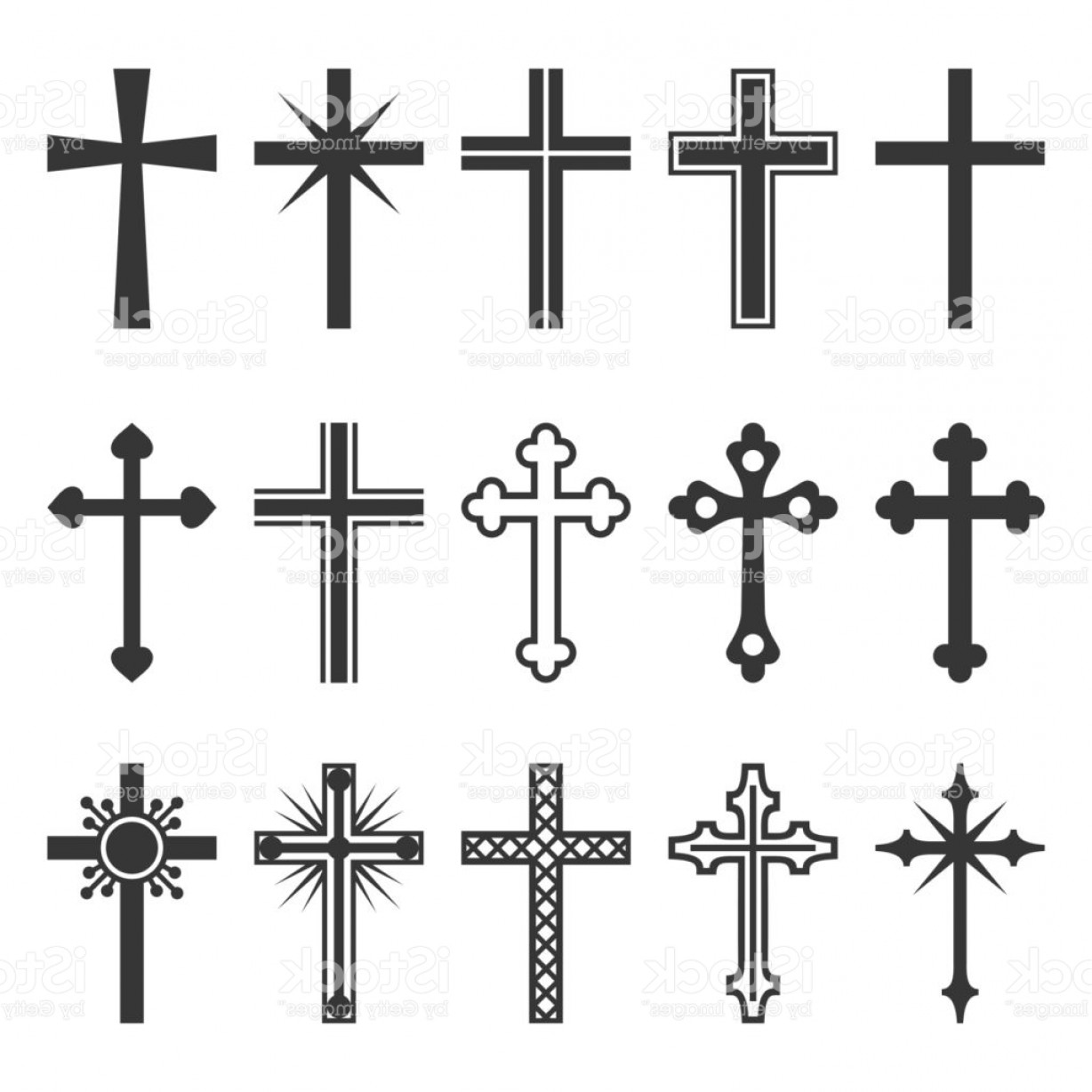 Gothic Religious Vector: Christian Cross Icons Set On White Background Vector Gm