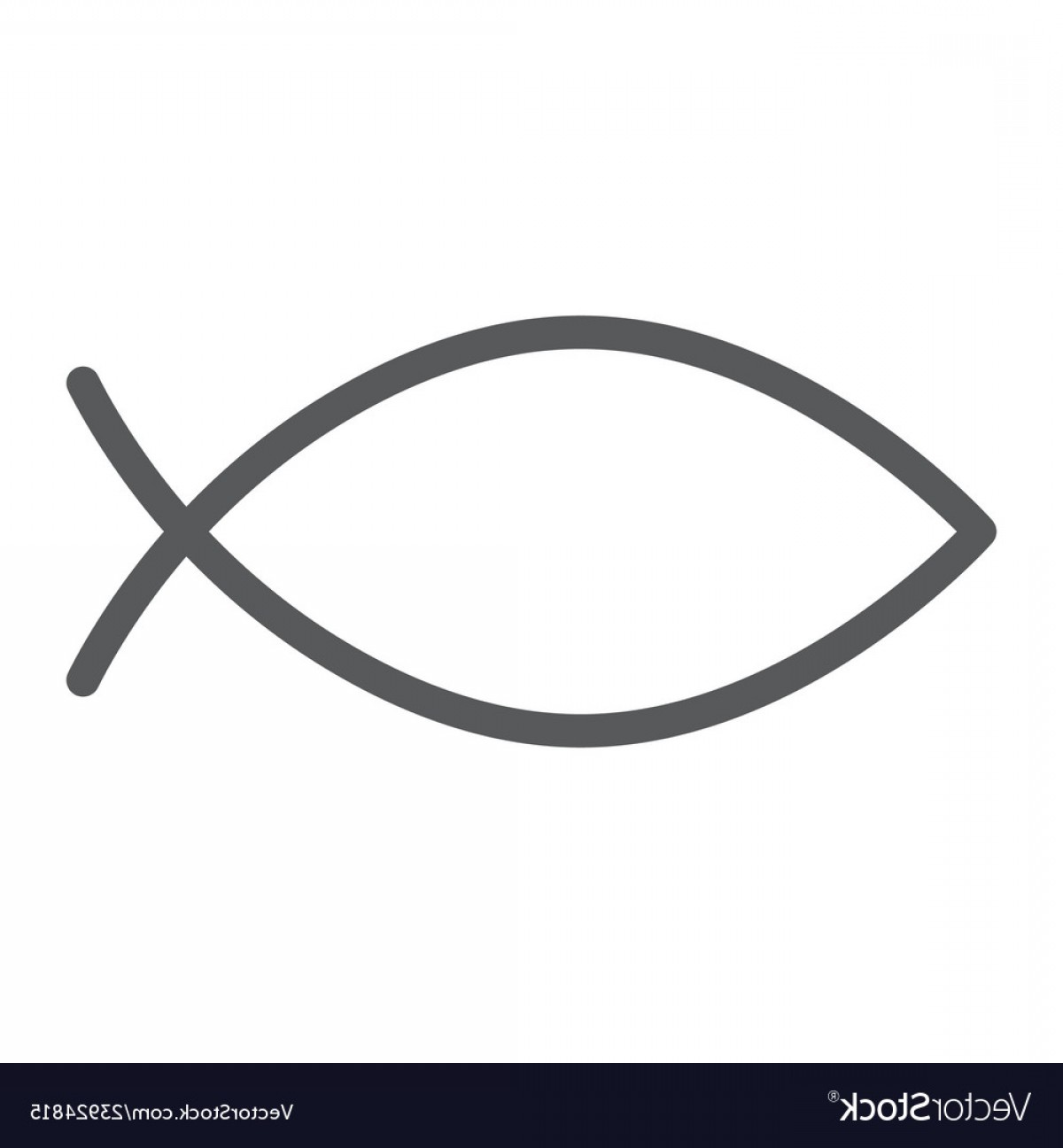 Christ Fish Vector: Christian Fish Line Icon Religious And Symbol Vector