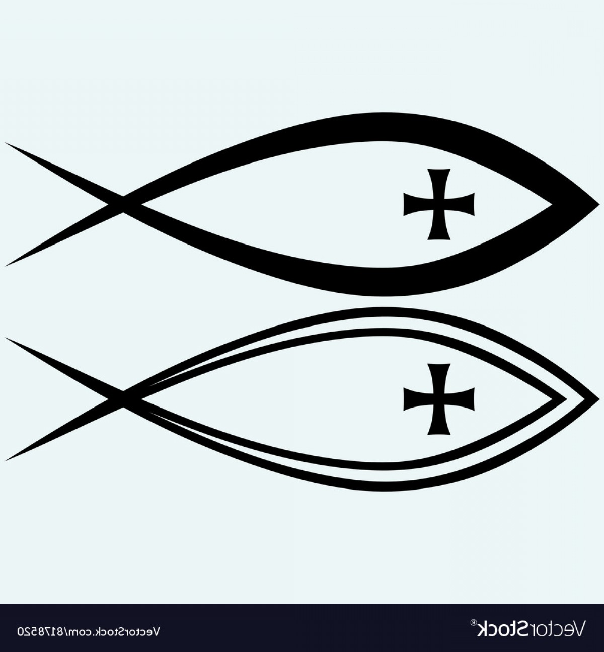 Christ Fish Vector: Christian Fish Symbol With Cross Vector