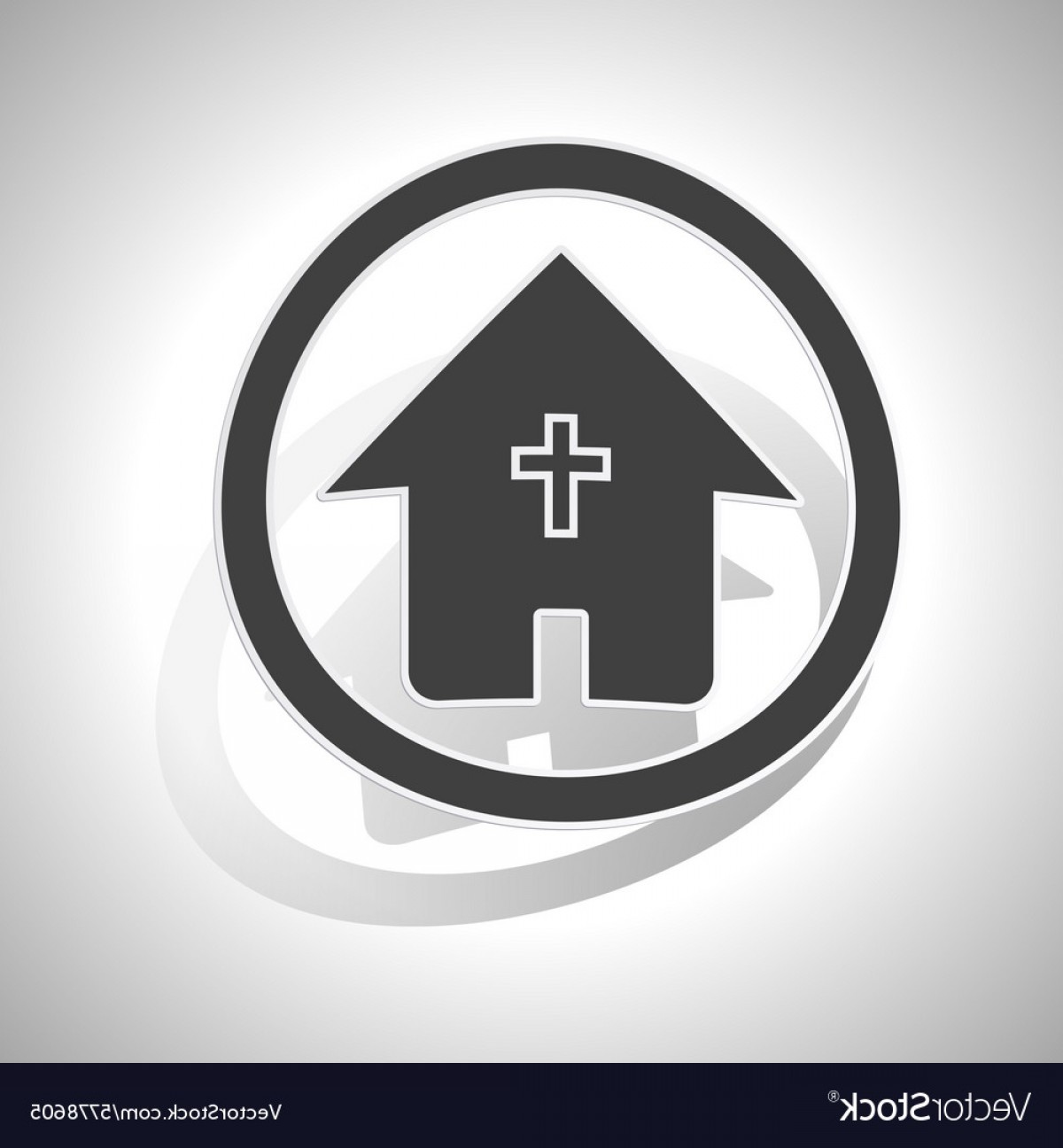 Vector House Sign: Christian House Sign Sticker Curved Vector