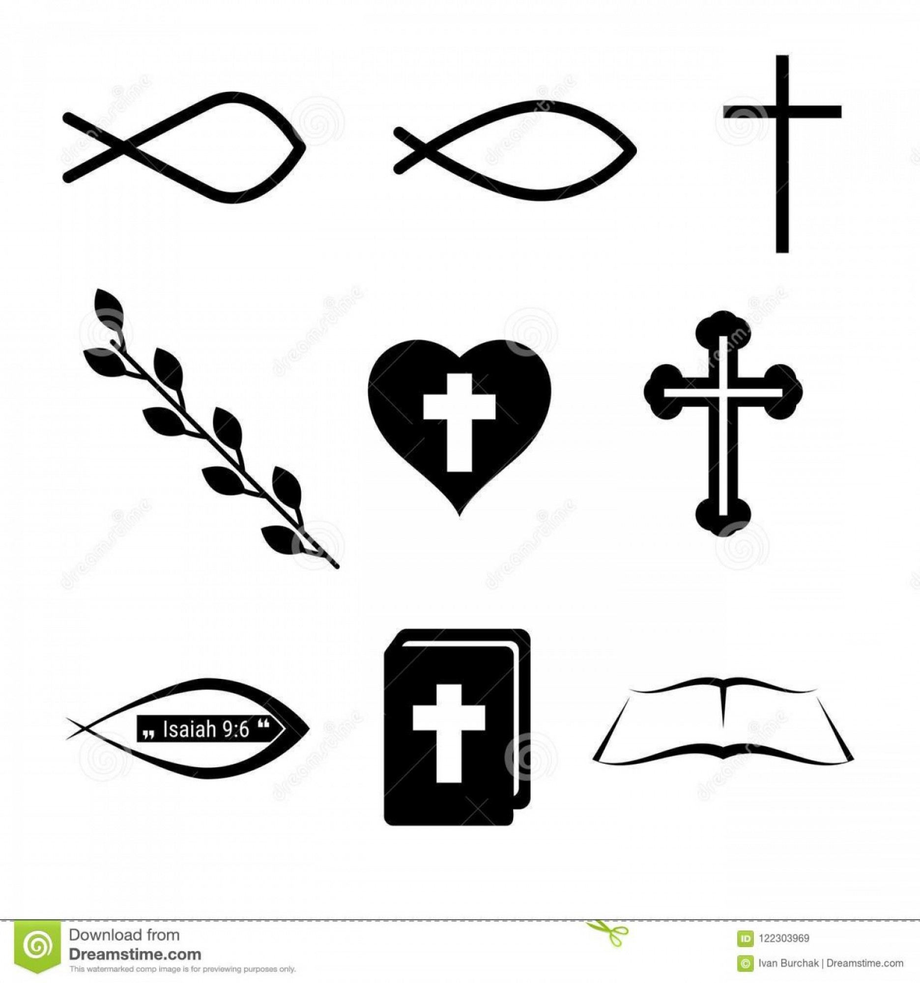 Christ Fish Vector: Christian Icons Symbols Fish Cross Heart Wine Holy Bible Vector Design Elements Set You Design Christian Icons Image