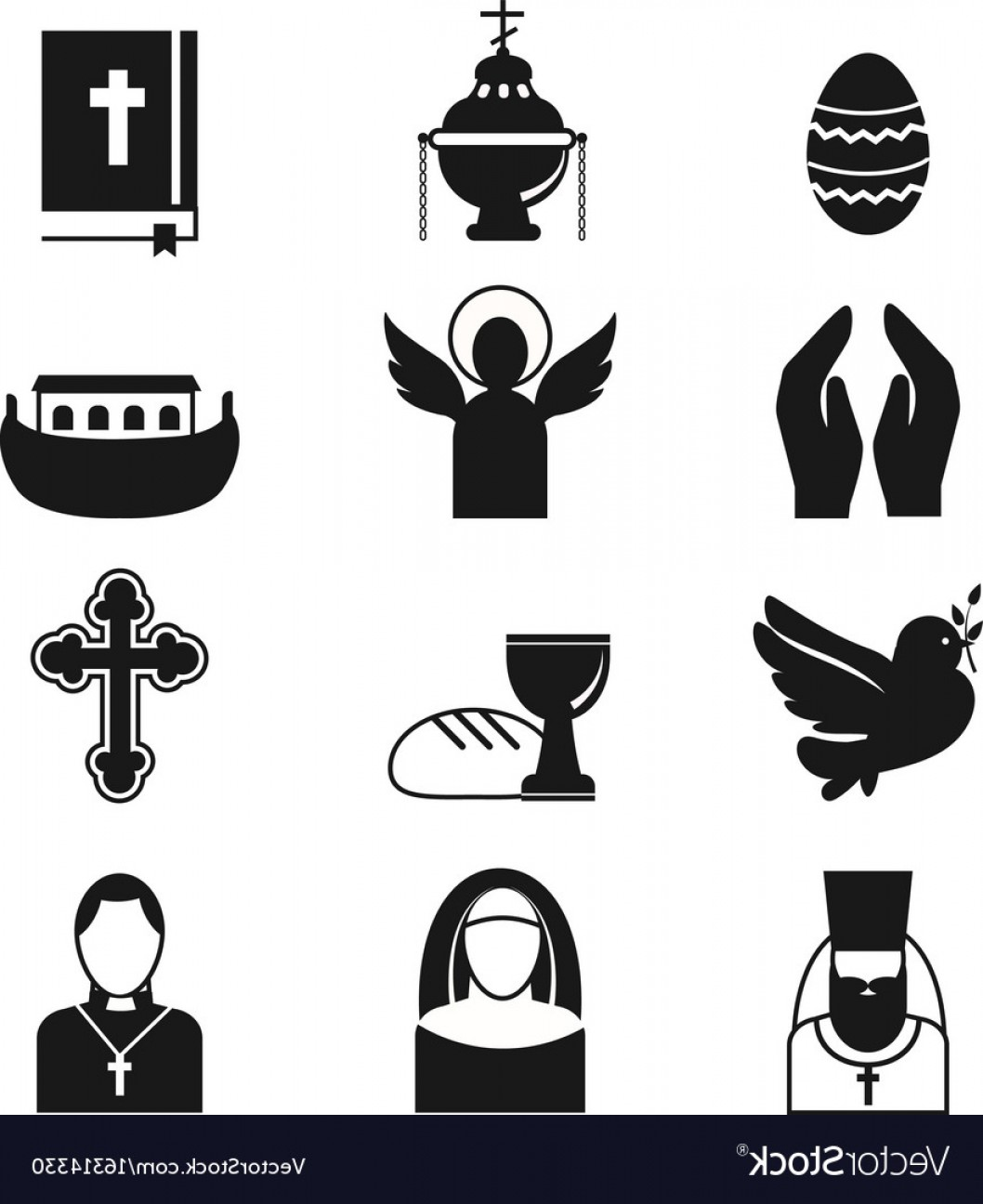 Vector Religion: Christianity Religion Flat Icons Vector