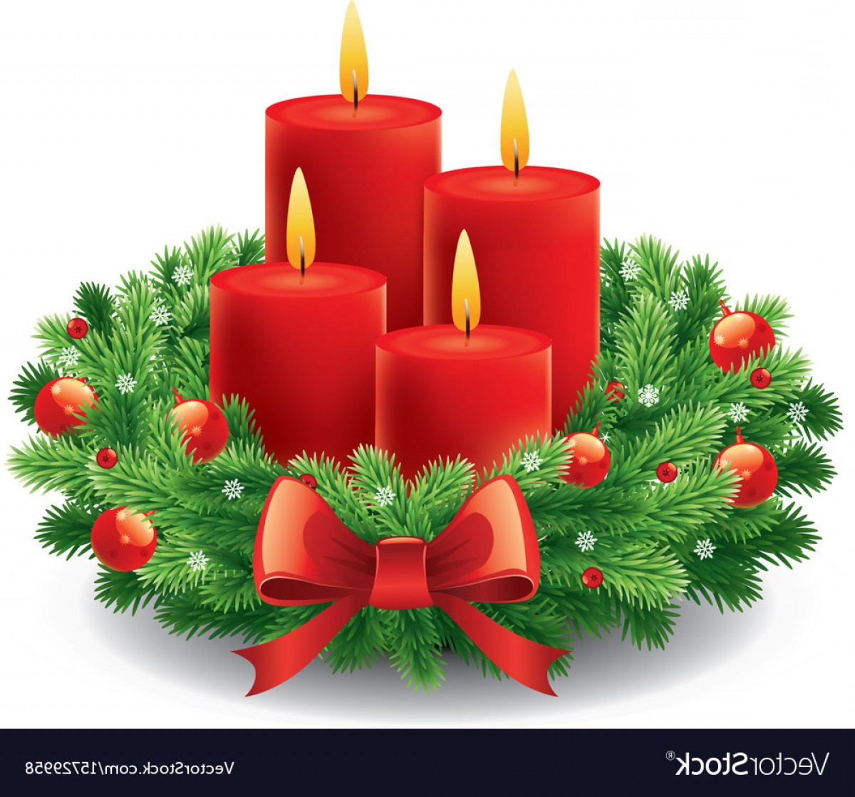 Advent Wreath Vector: Christmas Advent Wreath With Burning Candles Vector
