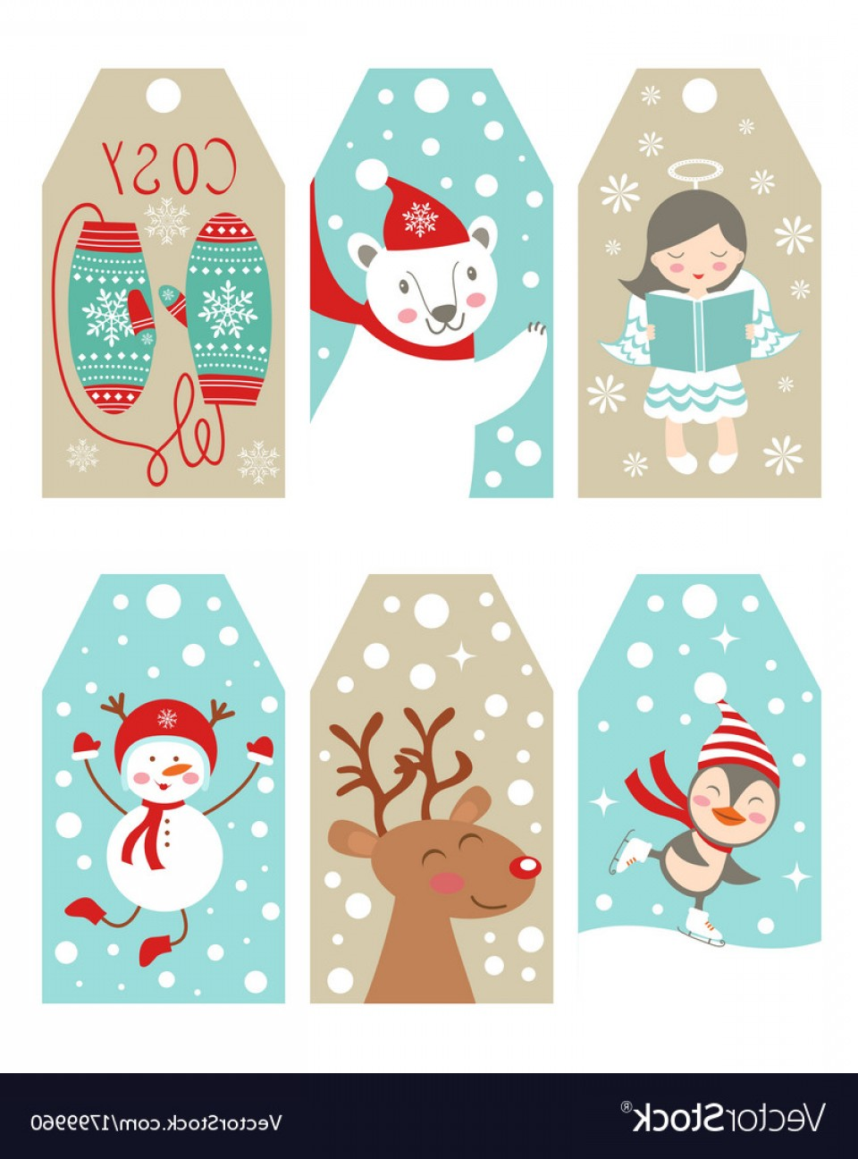 Gift Tags Vector Art: Christmas And New Year Gift Tags Vector
