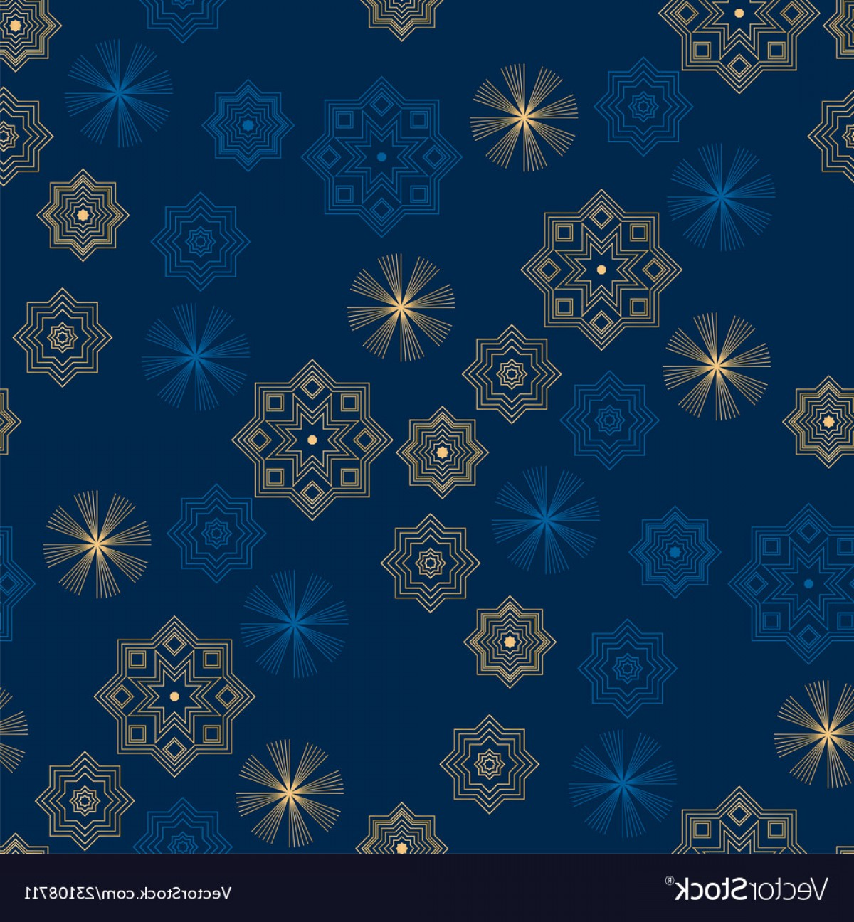Vector Blue Luxury: Christmas And New Year Night Blue Luxury Motif Vector