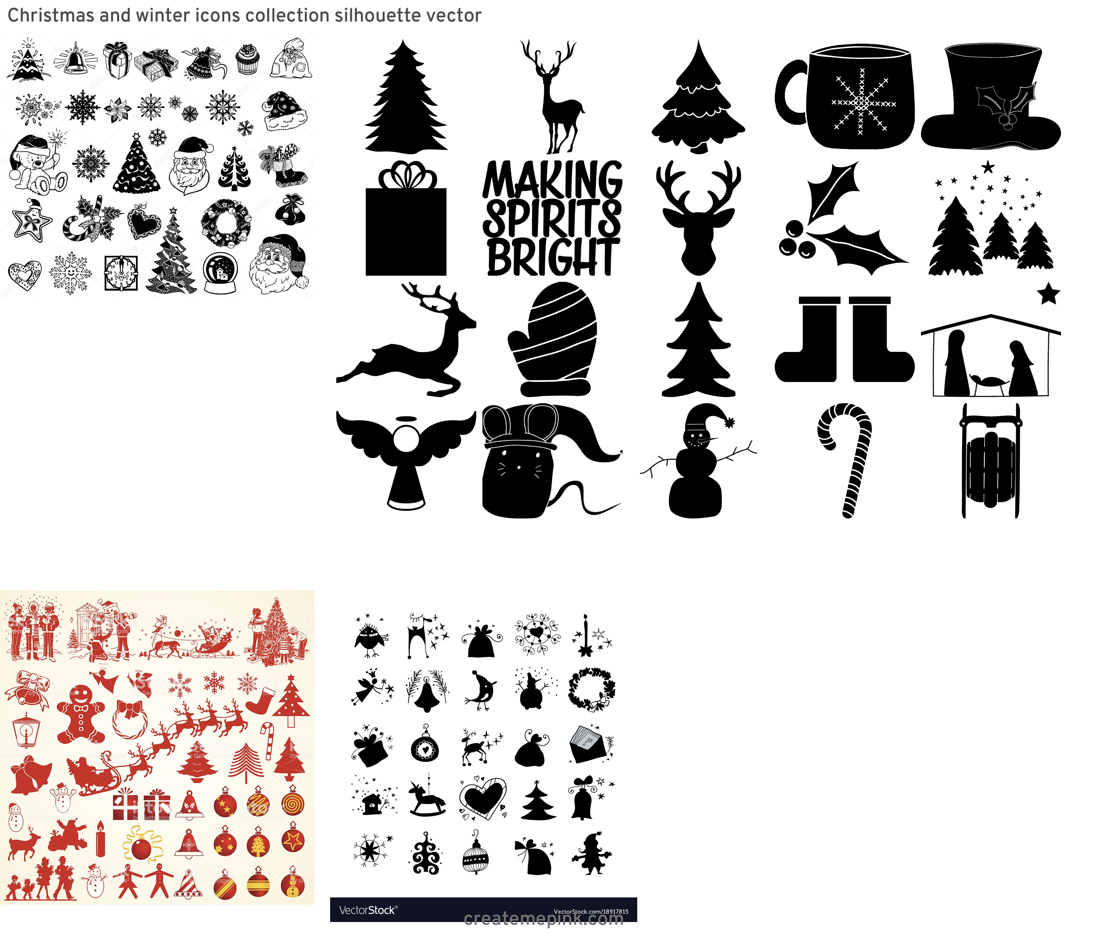 Christmas Silohette Vector: Christmas And Winter Icons Collection Silhouette Vector