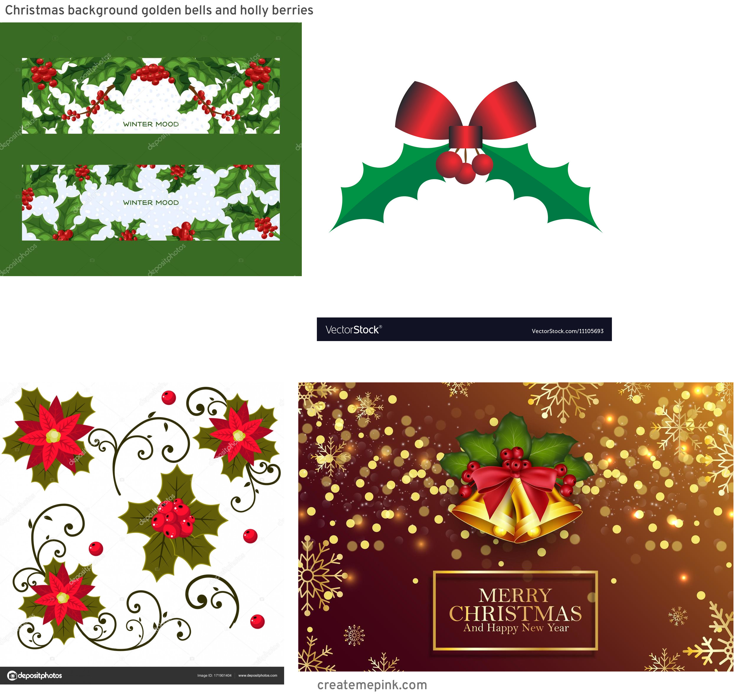 Holly Berry Vector Background: Christmas Background Golden Bells And Holly Berries