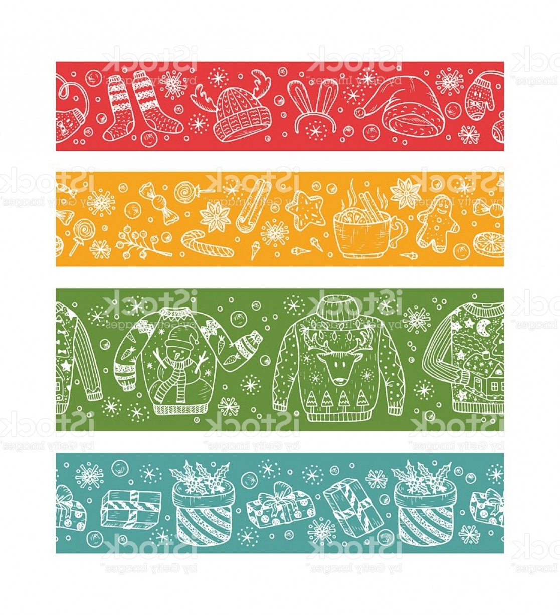 Christmas Horizontal Vector: Christmas Banners Horizontal Holiday Seamless Borders Christmas Paper Strips Xmas Gm