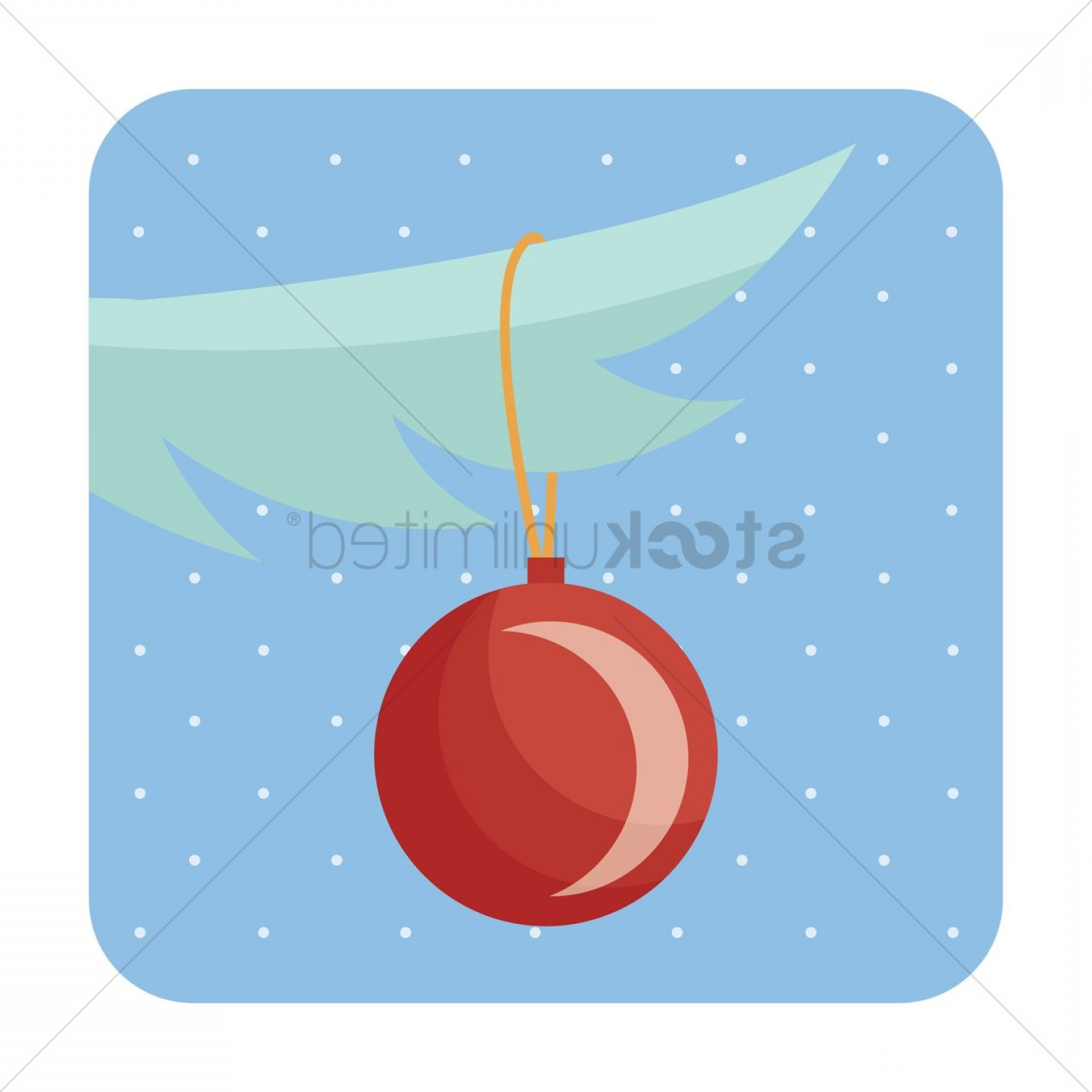 Pine Leaf Vector: Christmas Bauble Hanging On Pine Leaf