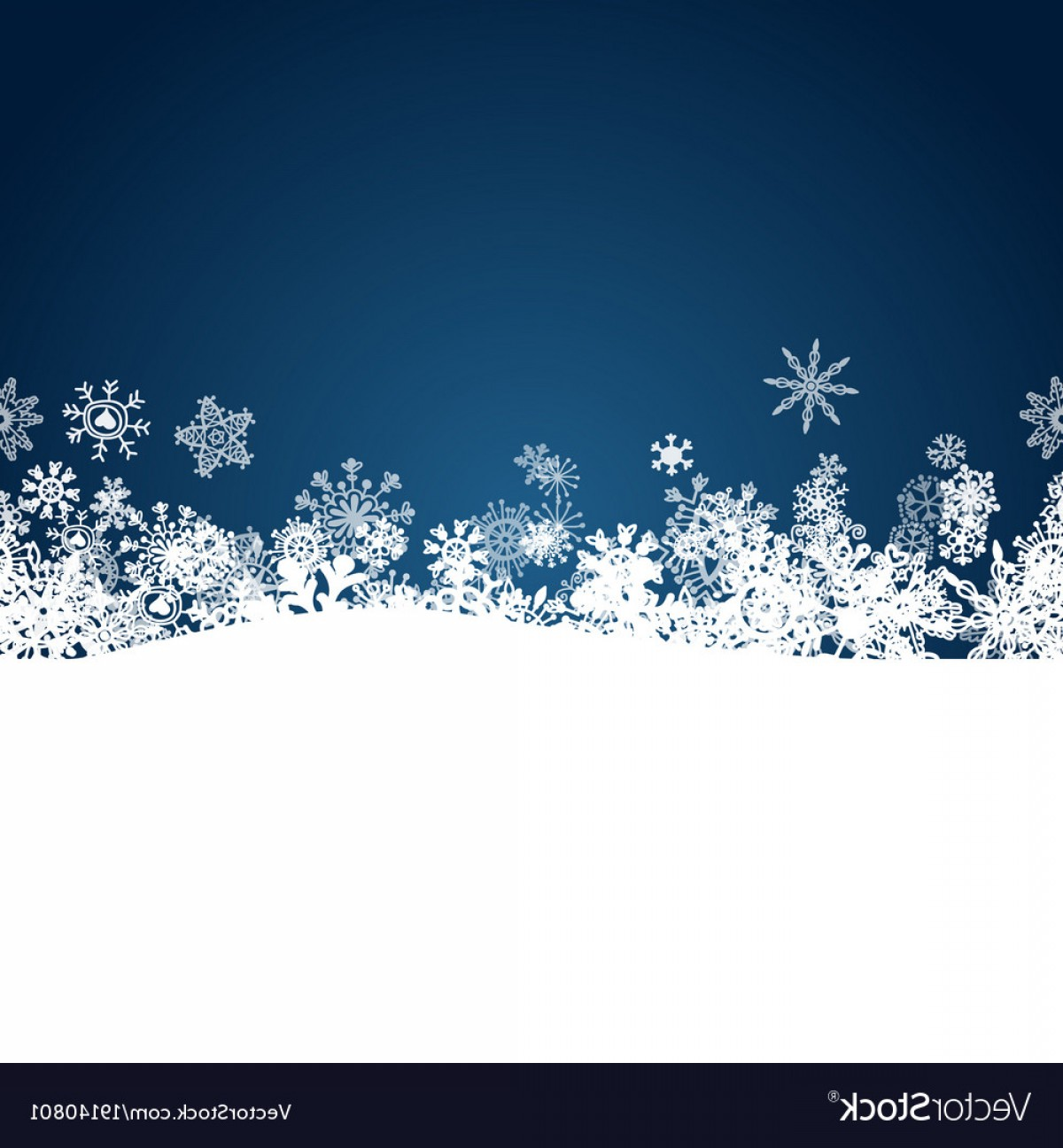 White Snowflake Vector Art: Christmas Blue Background With White Snowflakes Vector