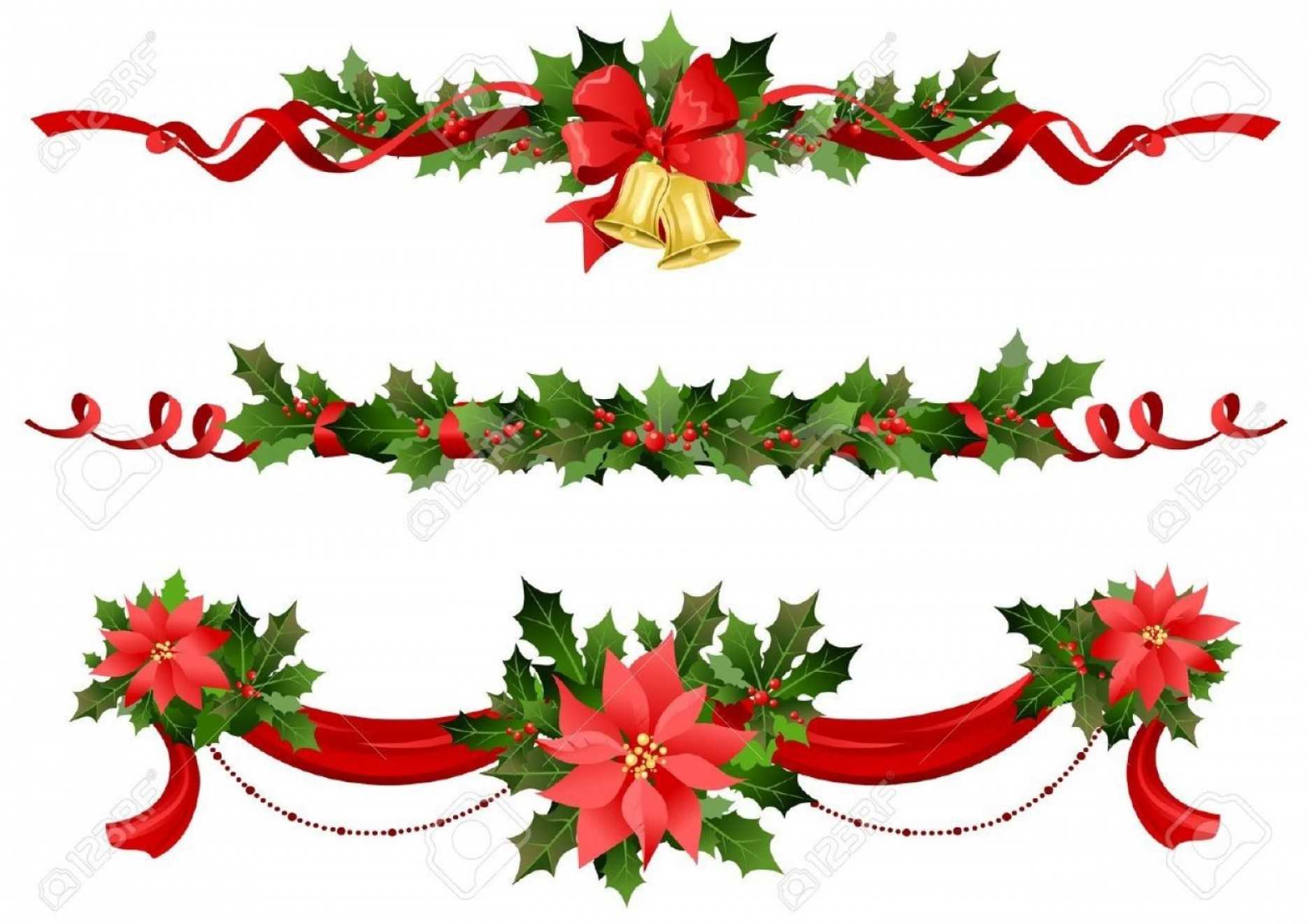 Christmas Holly Border Vector: Christmas Border With Holly Berry Royalty Free Vector Image Throughout Christmas Border Vector