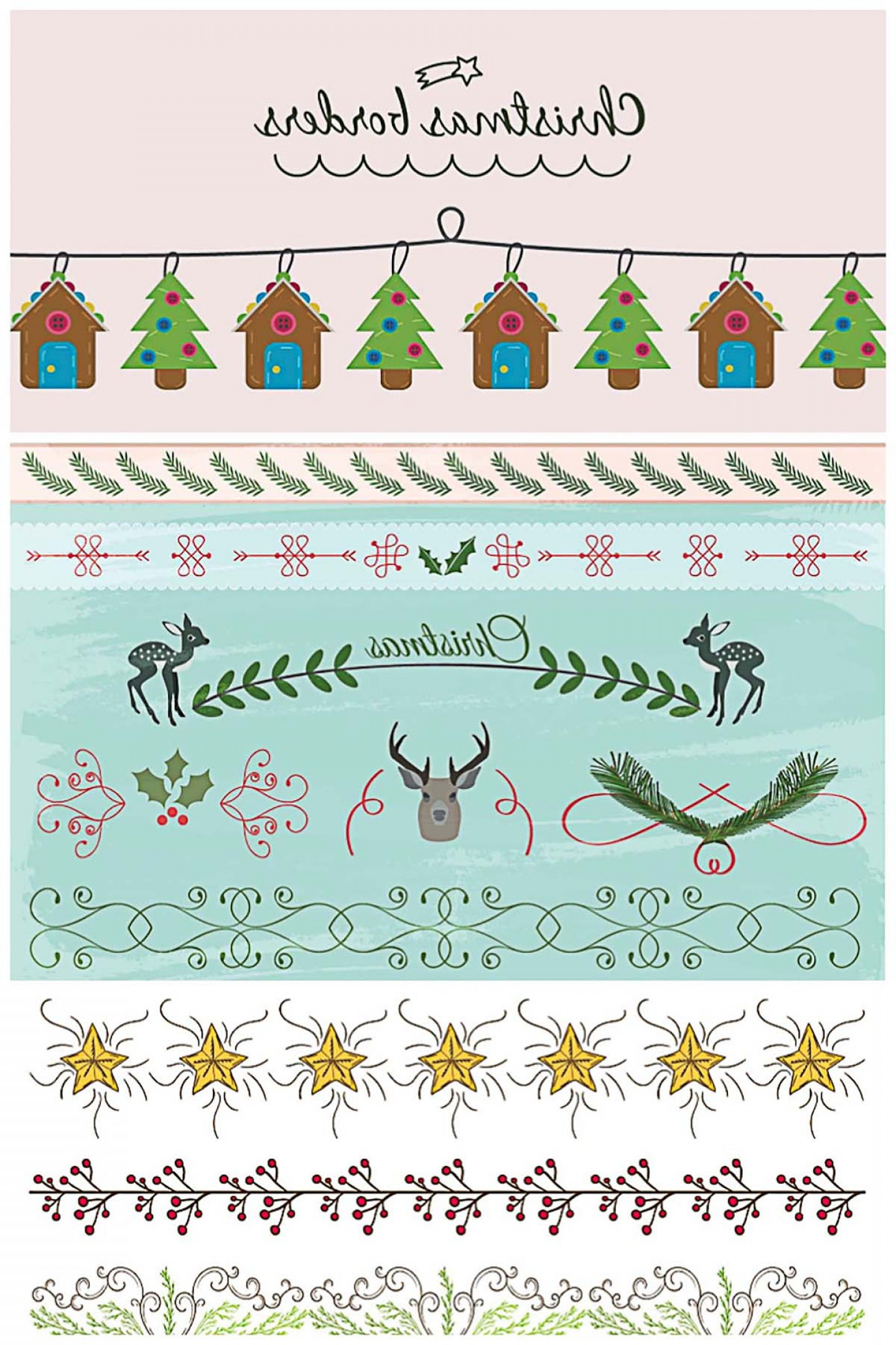 Christmas Divider Vector: Christmas Borders And Dividers Cute Vector Collection