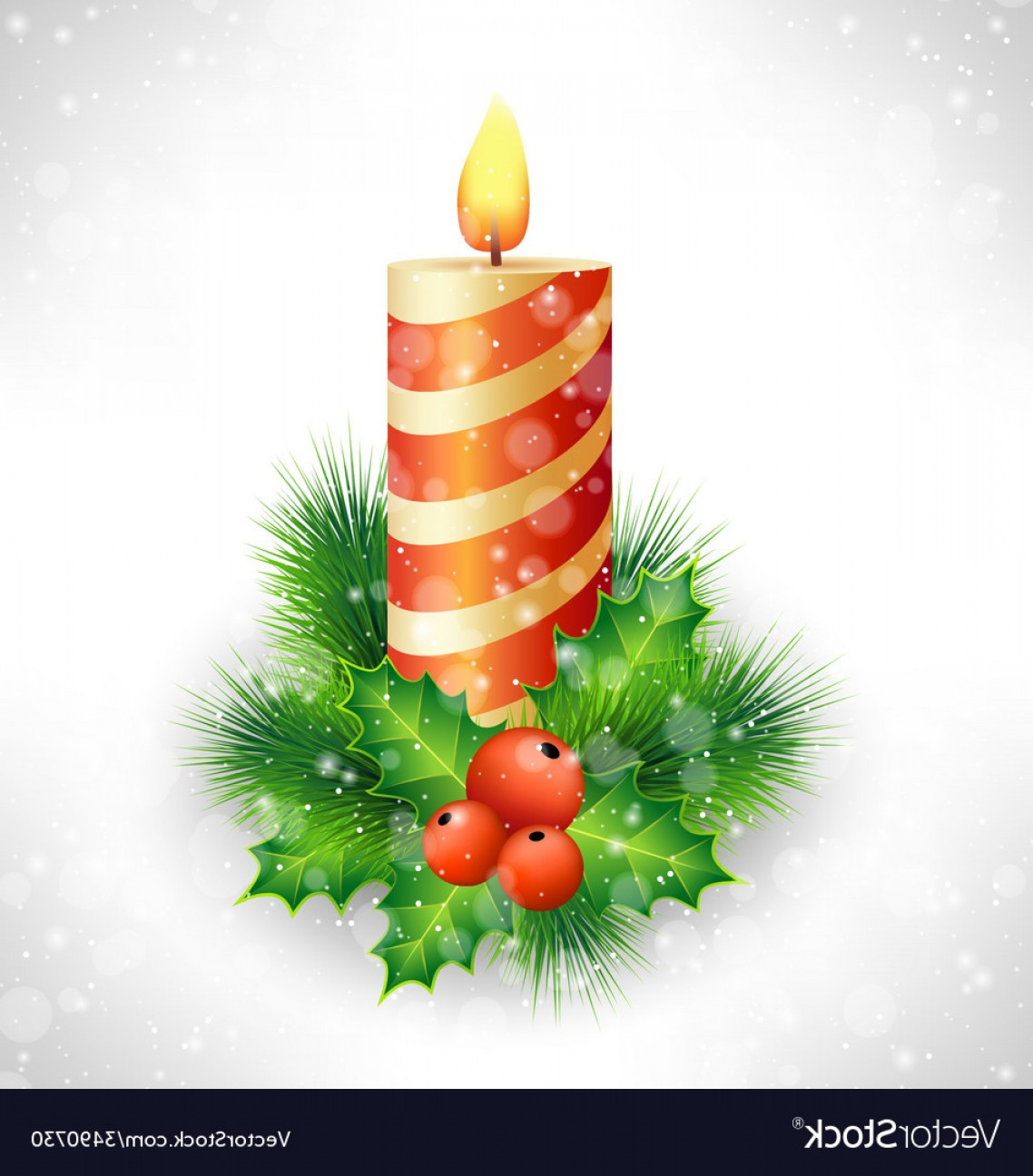 Vector-Based Grayscale Christmas: Christmas Candle With Holly And Pine On Grayscale Vector