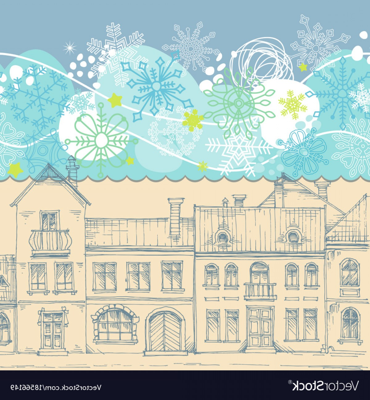 Snowflake Border Vector Art: Christmas Card Blue Sky Snowflakes Border Vector