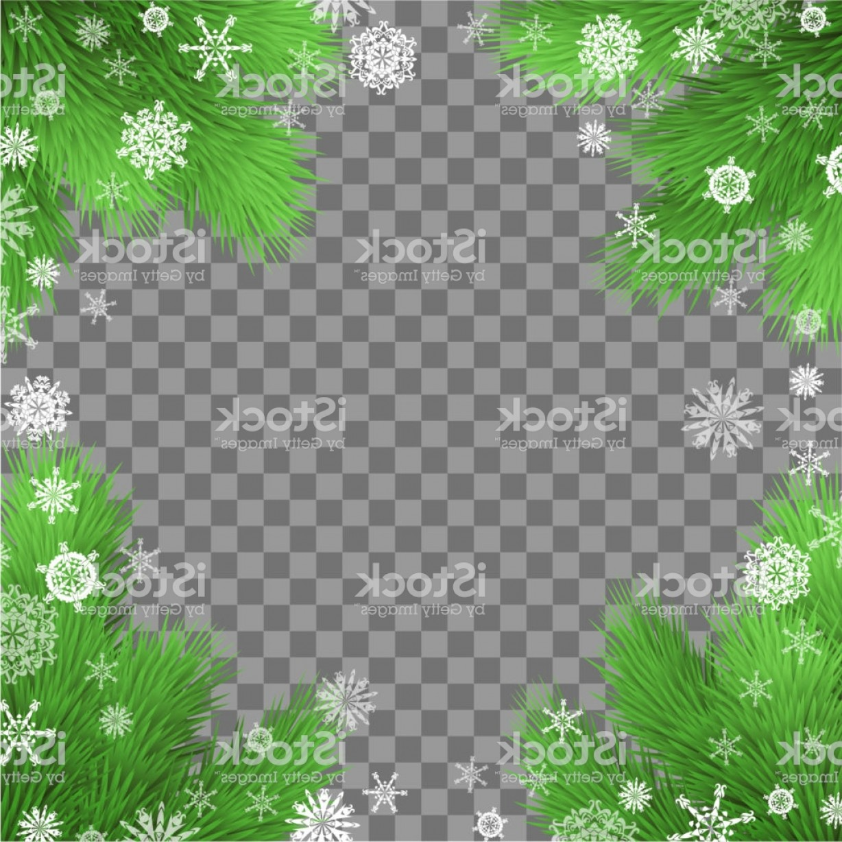 Snowflake Border Vector Art: Christmas Card Holiday Background With Fir Twigs And Snowflakes On Transparent Gm