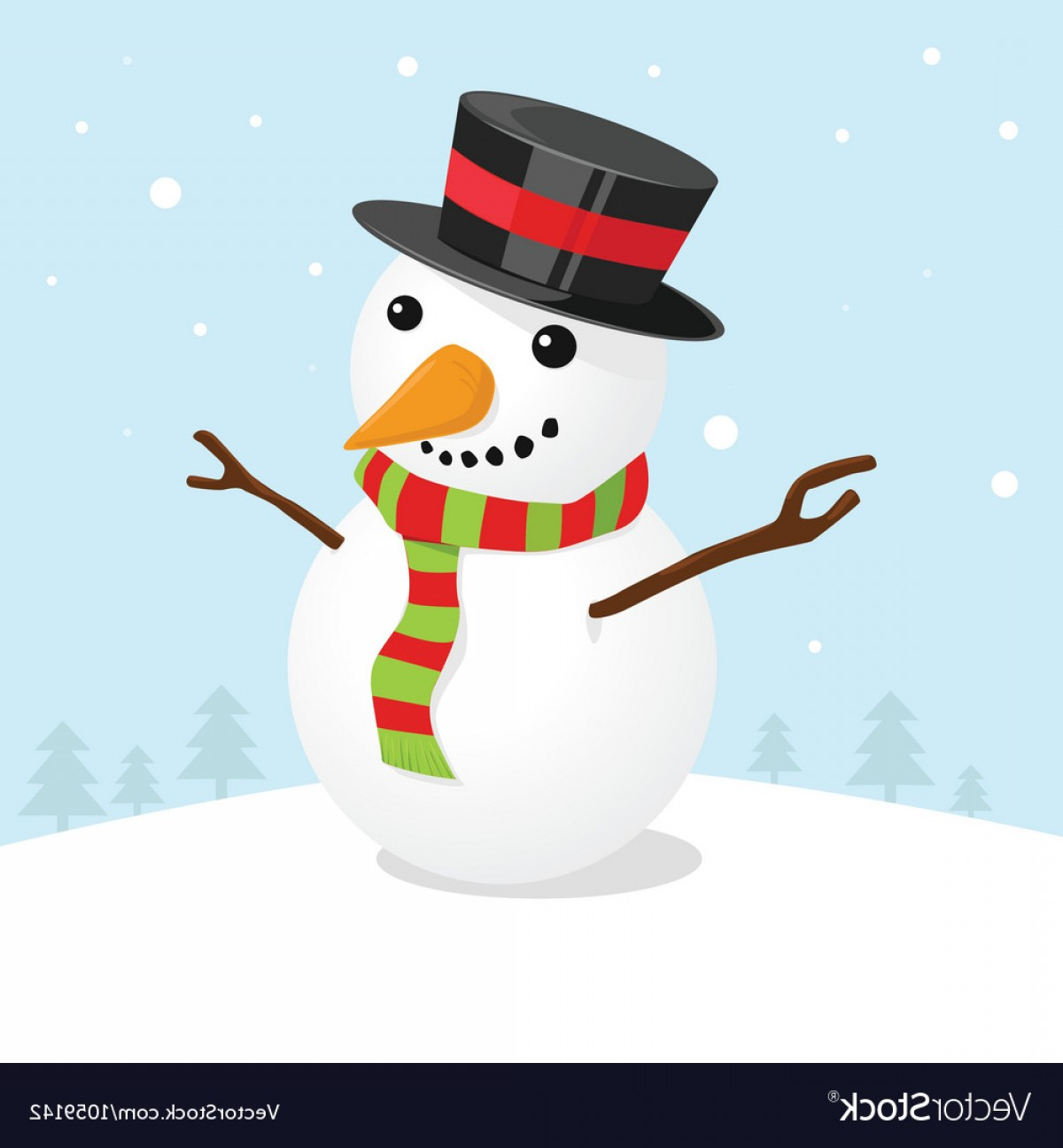 No Hat With Snowman Vector: Christmas Card With A Cute Snowman Vector