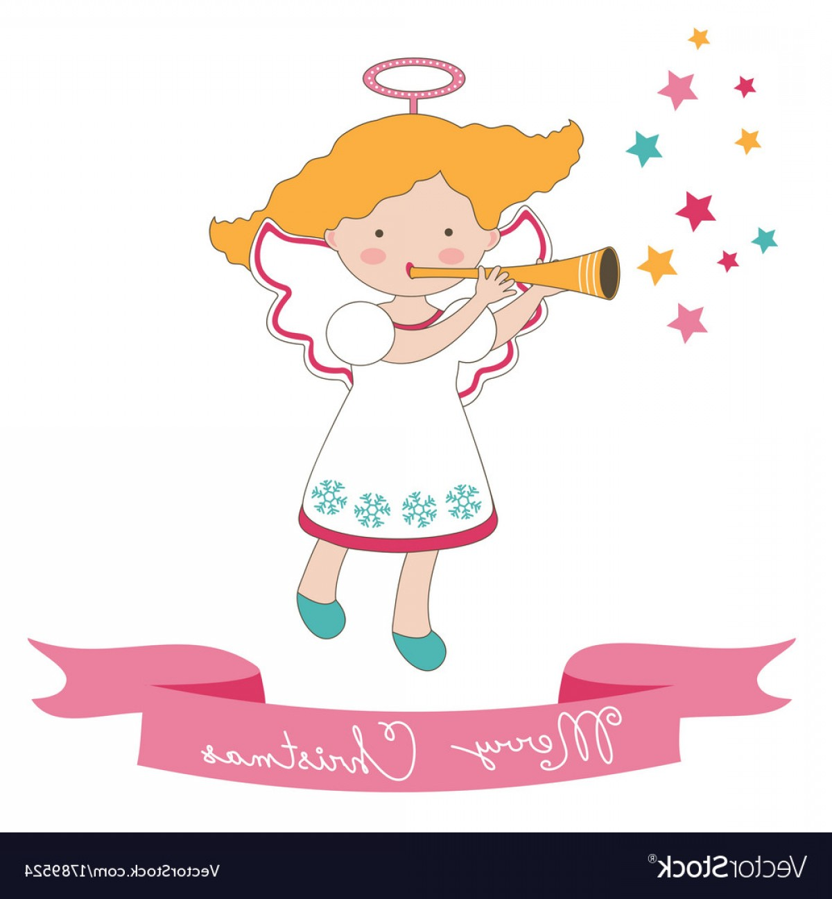 Little Angel Vector: Christmas Card With Little Angel Vector