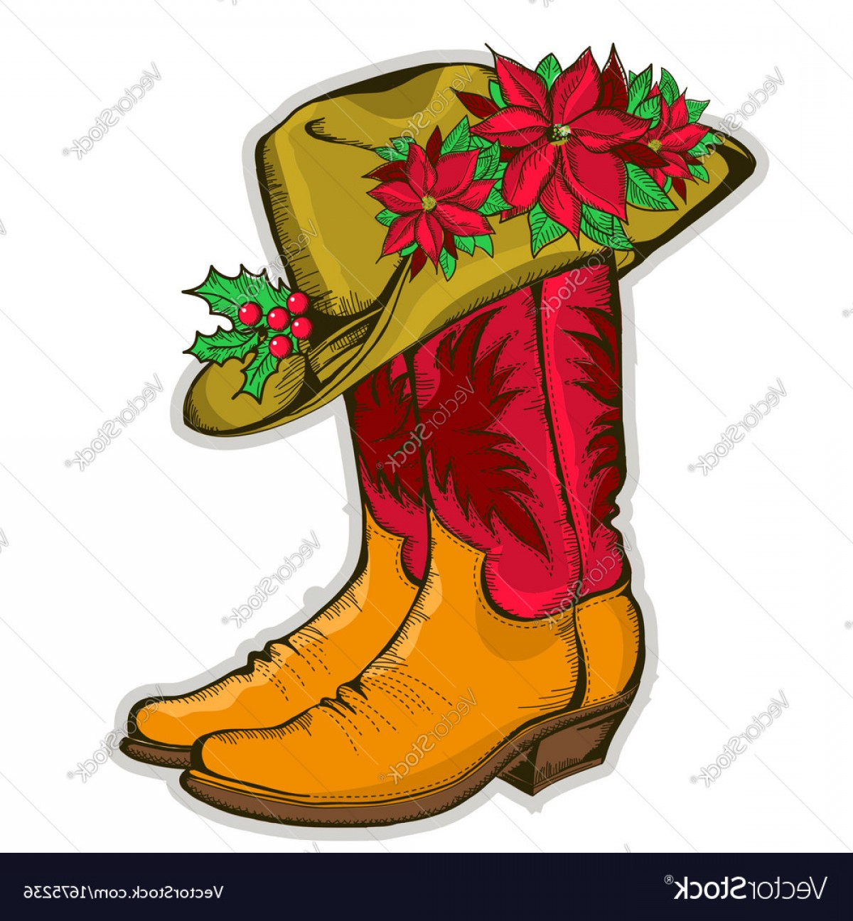 Two Cowgirl Boots Vector: Christmas Cowboy Boots And Western Hat With Vector