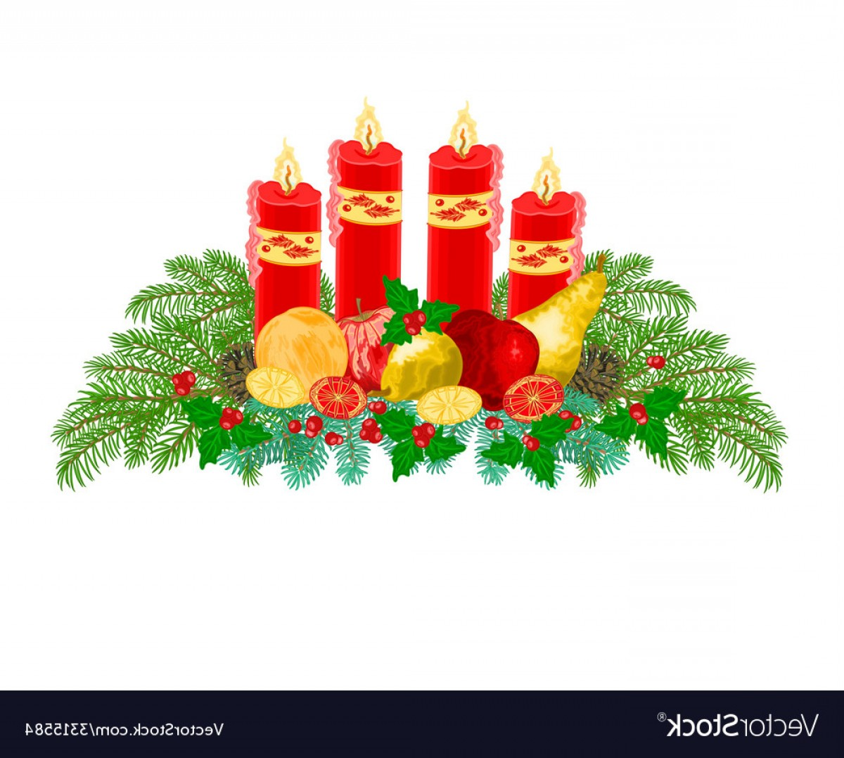 Advent Wreath Vector: Christmas Decoration Advent Wreath With Fruit Vector