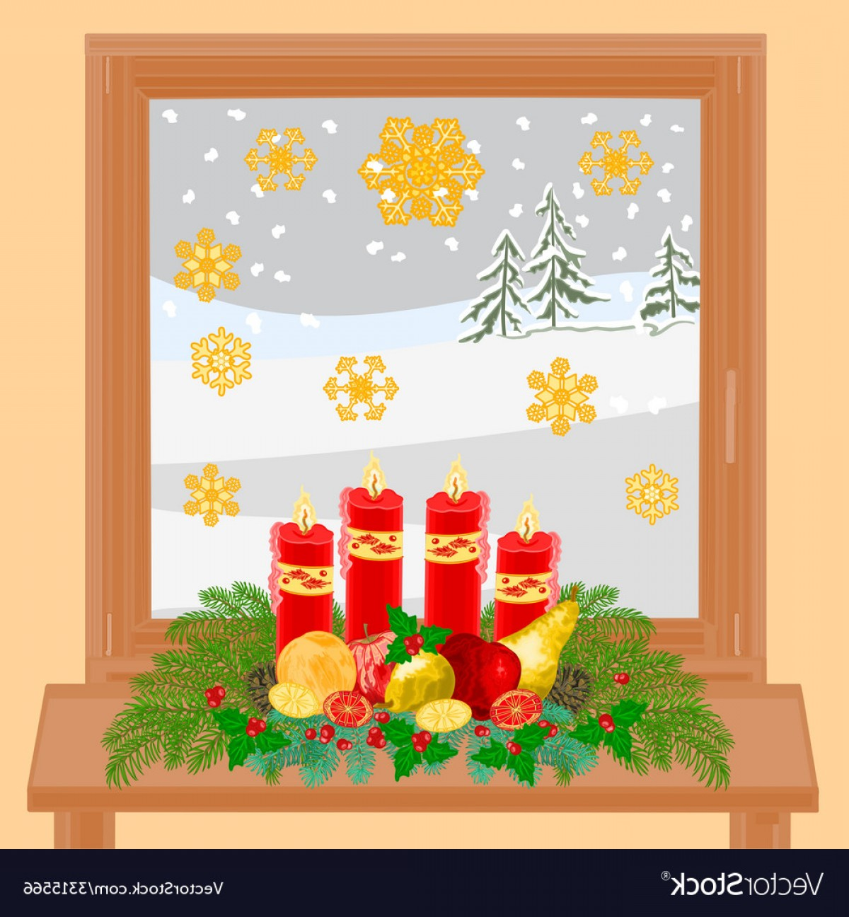Advent Wreath Vector: Christmas Decoration Window With Advent Wreath Vector