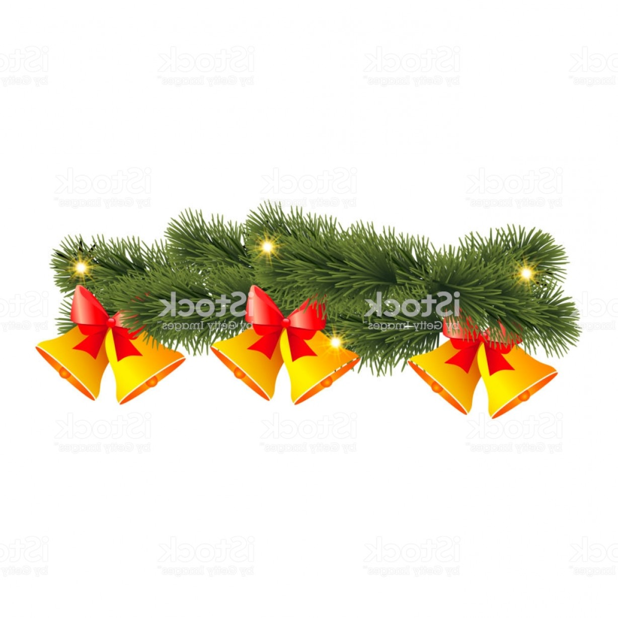 Pine Leaves Vector: Christmas Decoration With Bell And Pine Leaves Vector Gm