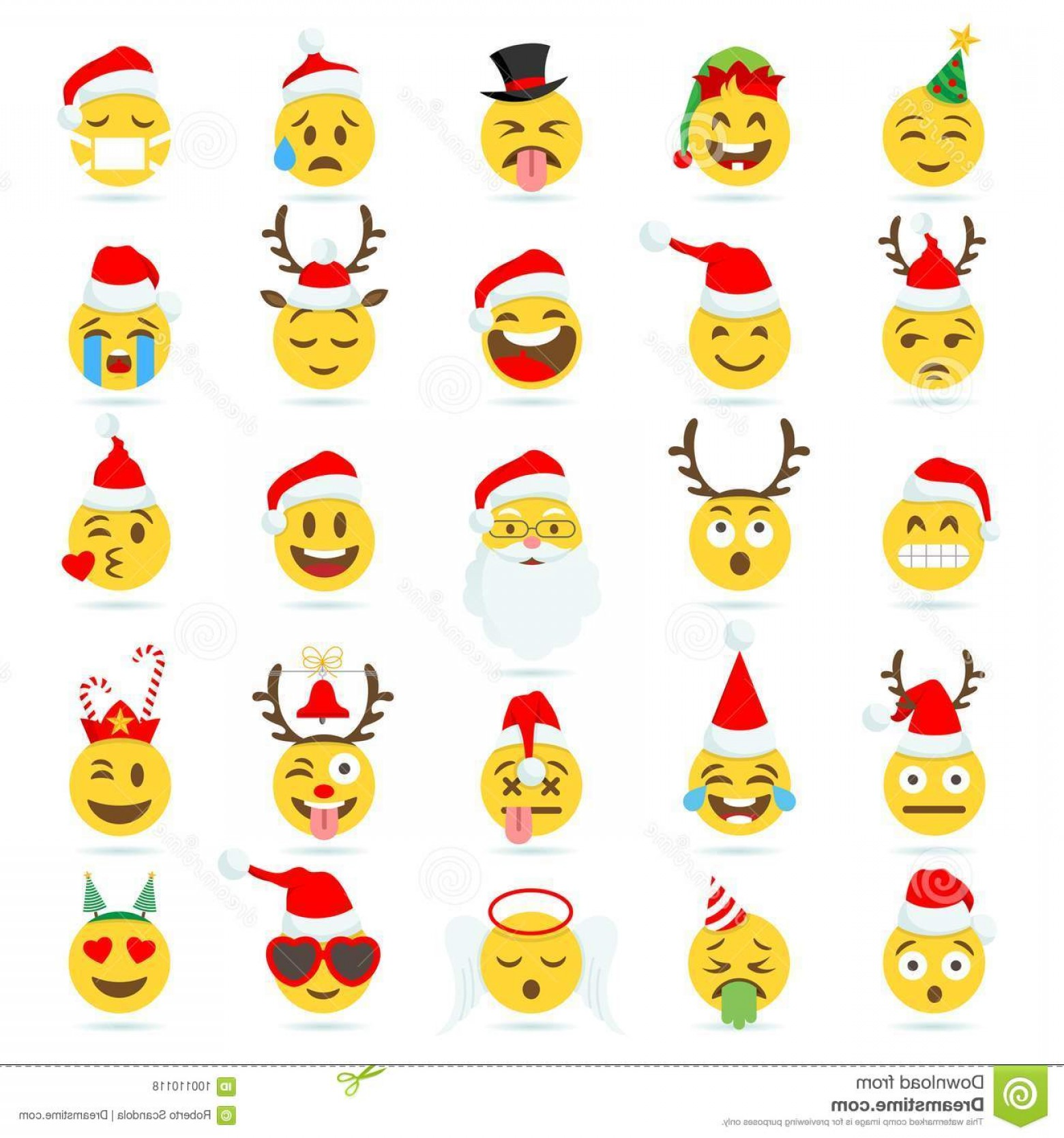 Popular Vector Emoji: Christmas Emoticon Vector Emoji Big Set High Quality Cartoonish Emoticons Theme Image