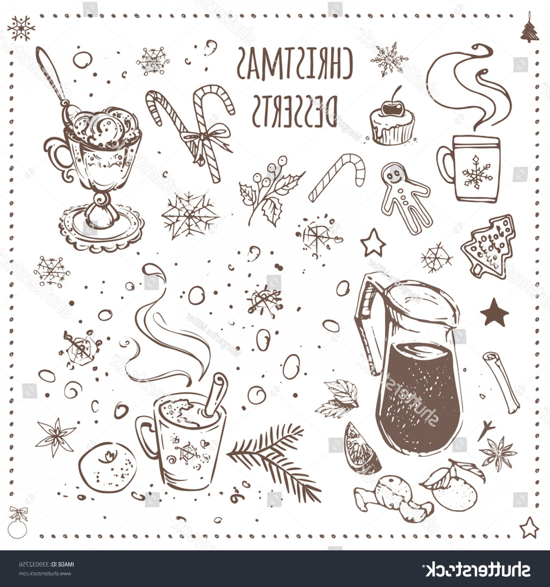 Food Vectors 50 S: Christmas Food Desserts Vector Collection Ink