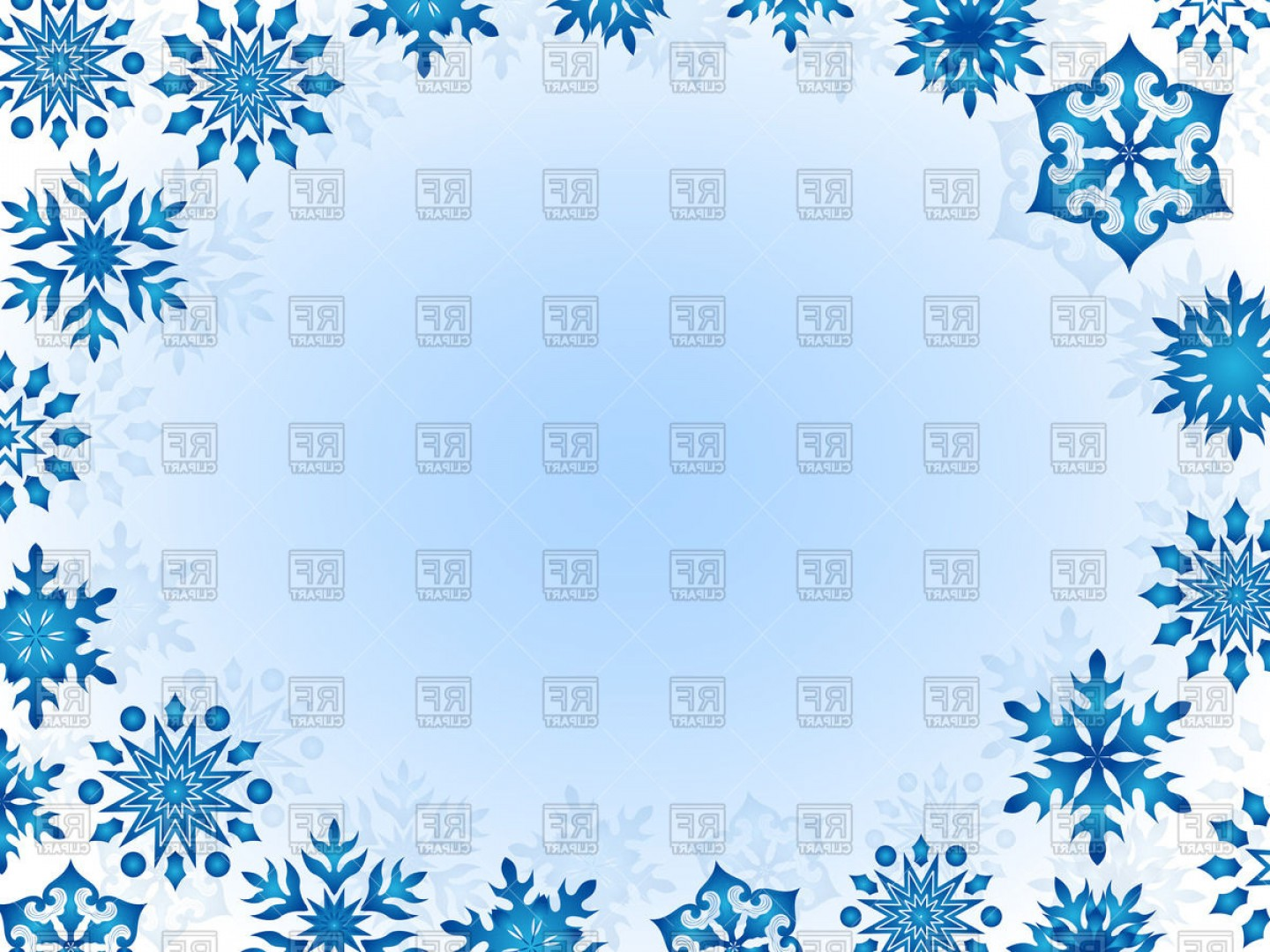 Snowflake Border Vector Art: Christmas Frame Of Blue Snowflakes On White Background Vector Clipart