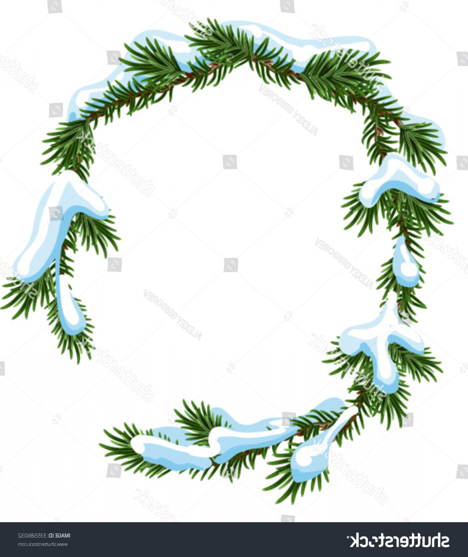 Pine Tree Vector Format: Christmas Frame Spruce Branches Snow Isolated