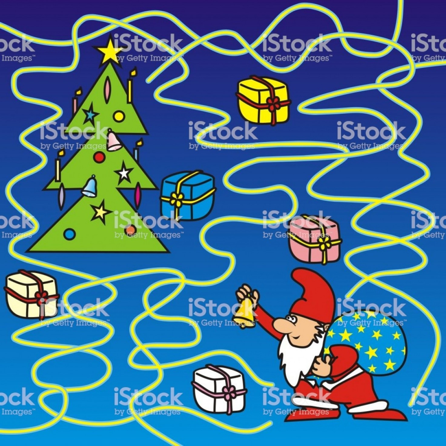 Vector-Based Christmas: Christmas Game For Kids Labyrinth Santa Claus Find Way To The Christmas Tree Gm