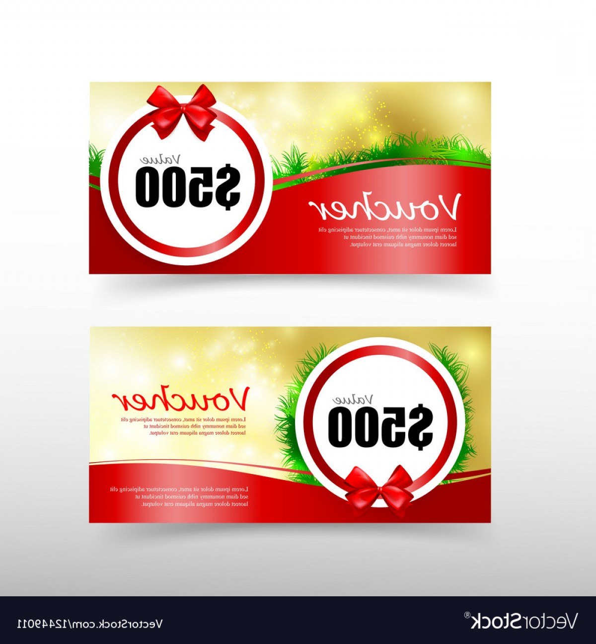 RedVector Coupon: Christmas Gift Voucher Card Template With Red Vector