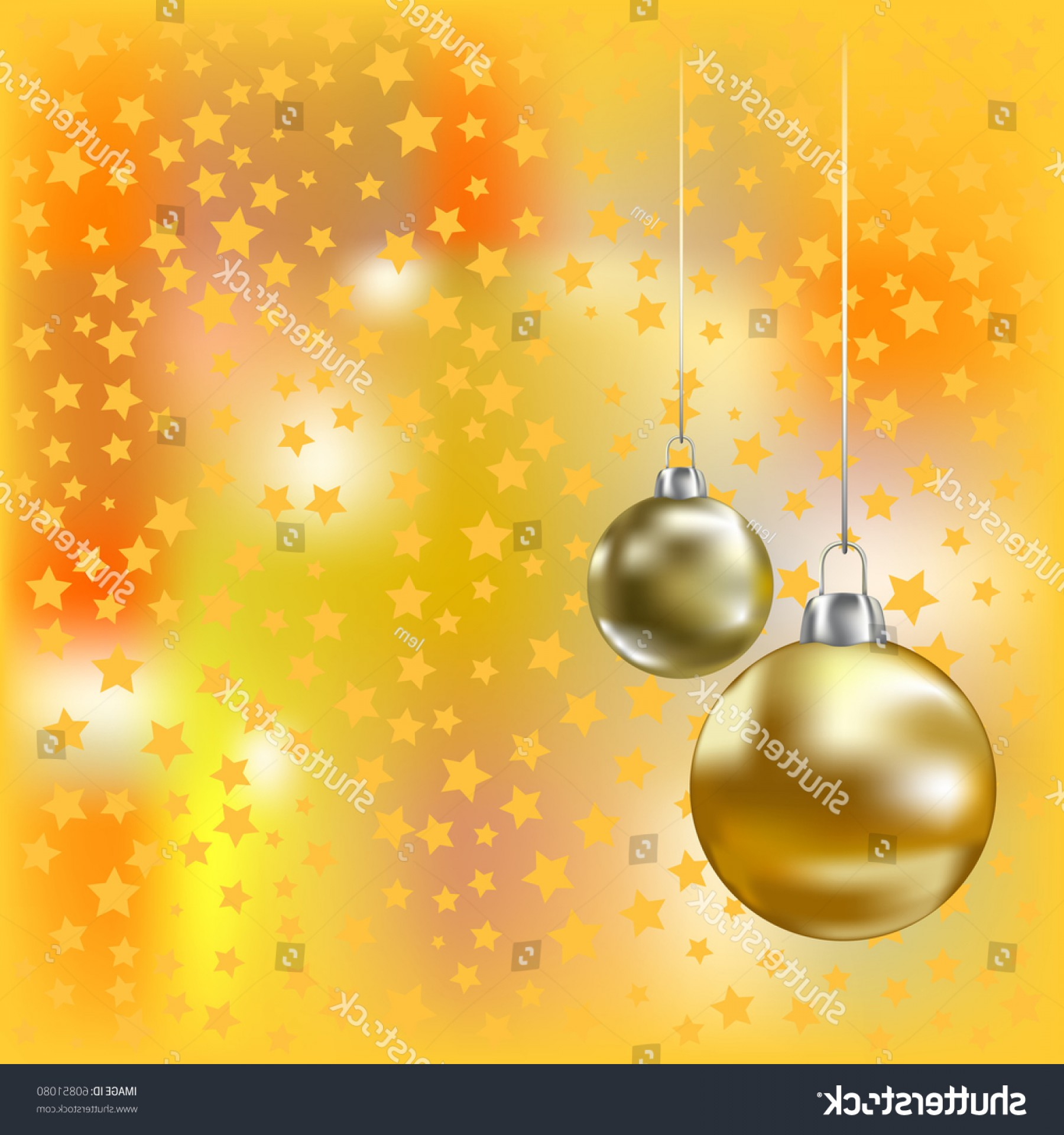Stars Yellow Christmas Vector: Christmas Golden Balls Stars Yellow Vector