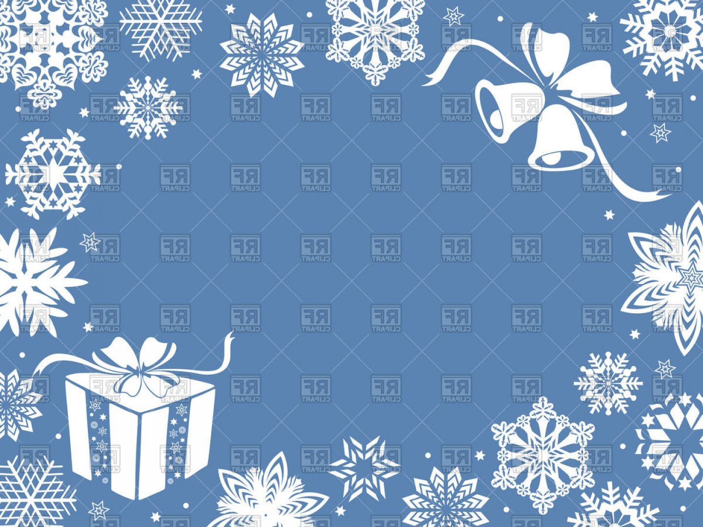 Snowflake Border Vector Art: Christmas Greeting Card Or Frame With Snowflakes And Gifts In Blue Shades Vector Clipart