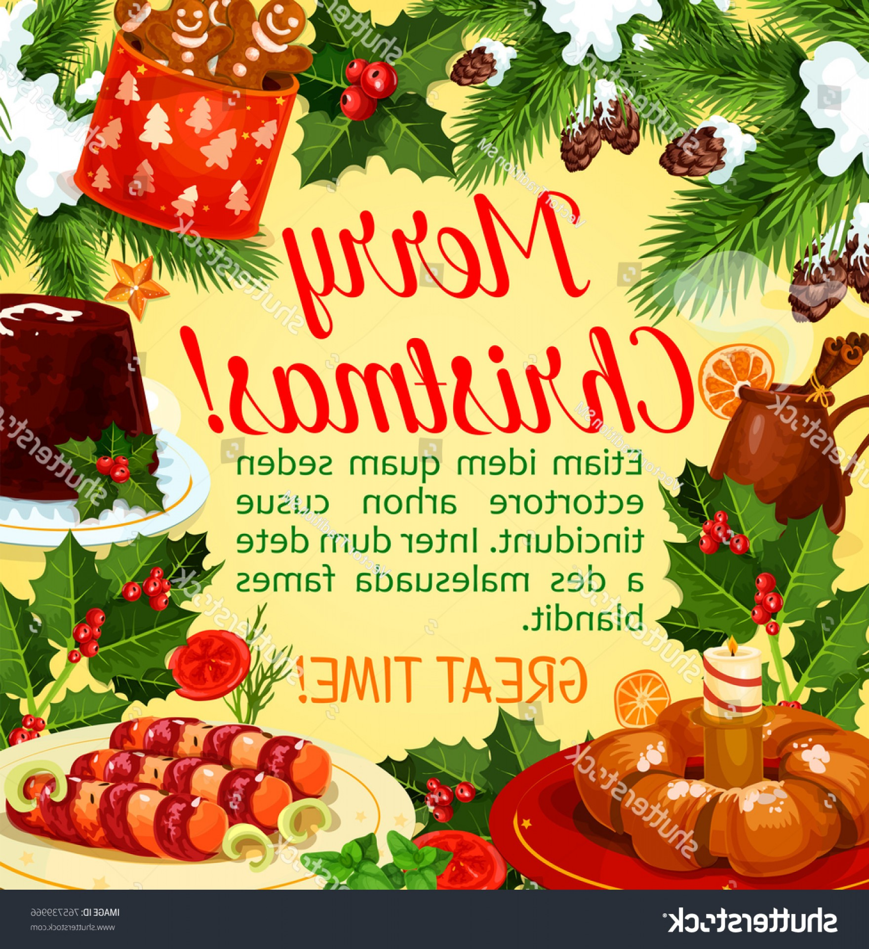 Vector-Based Christmas: Christmas Holiday Dinner Greeting Poster Xmas