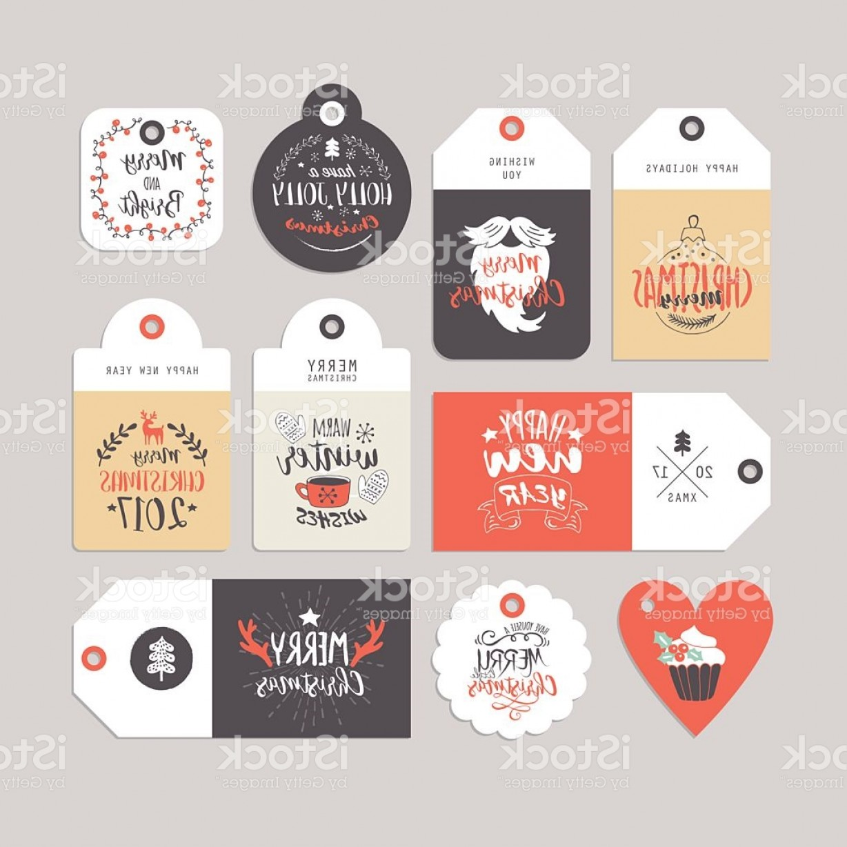 Gift Tags Vector Art: Christmas Holiday Gift Tags Set With Typography And Hand Drawing Gm