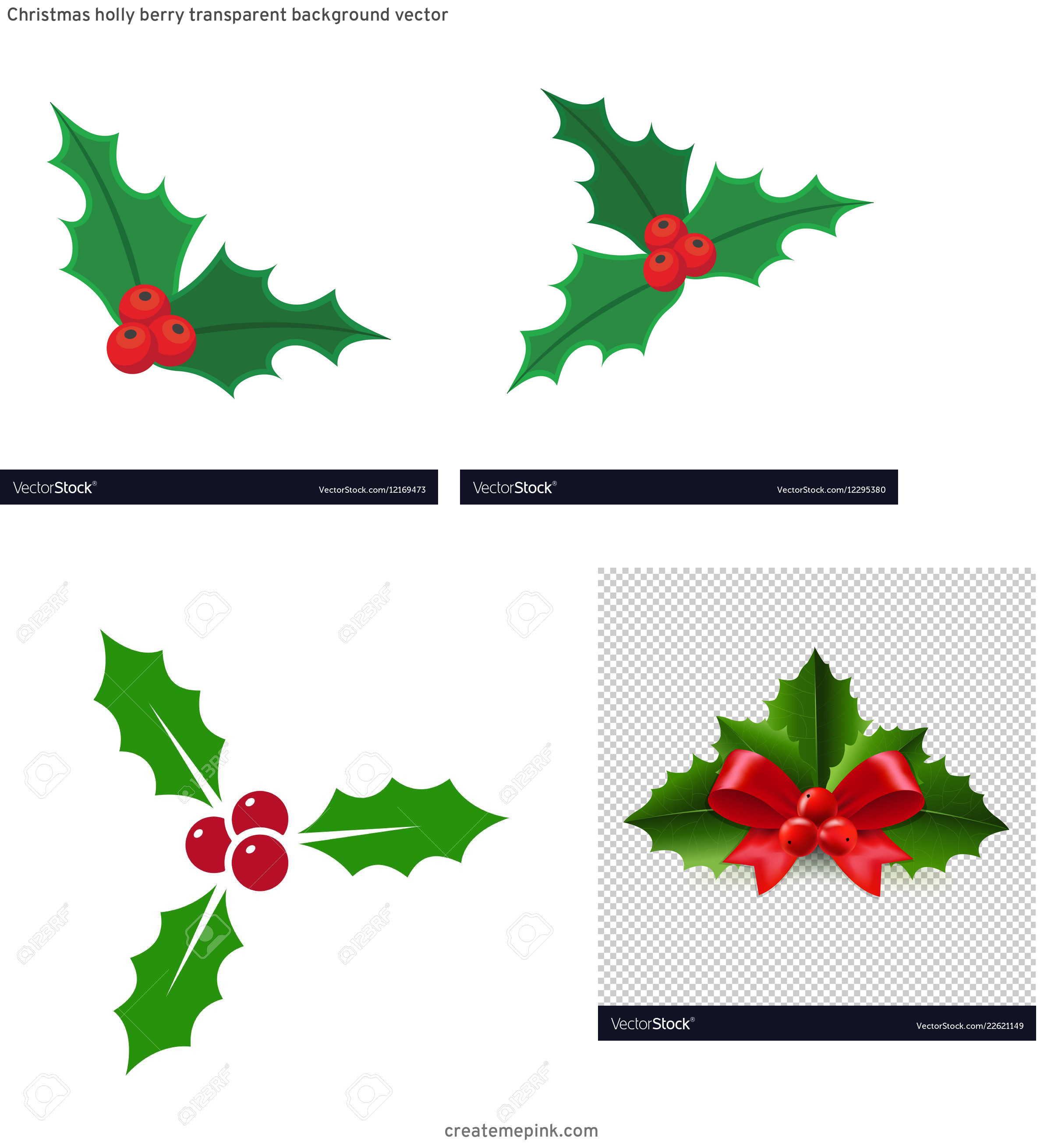 Holly Berry Vector Background: Christmas Holly Berry Transparent Background Vector