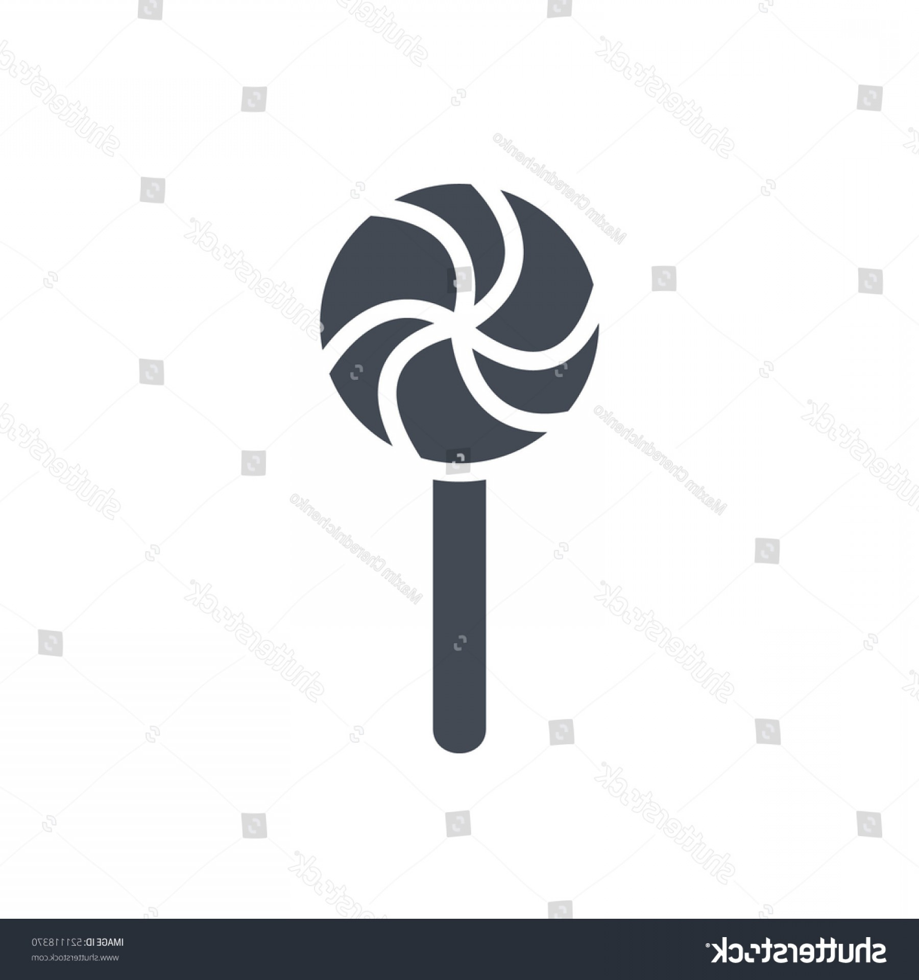 Lollipop Vector Silhouette: Christmas Icon Solid Lollipop Silhouette