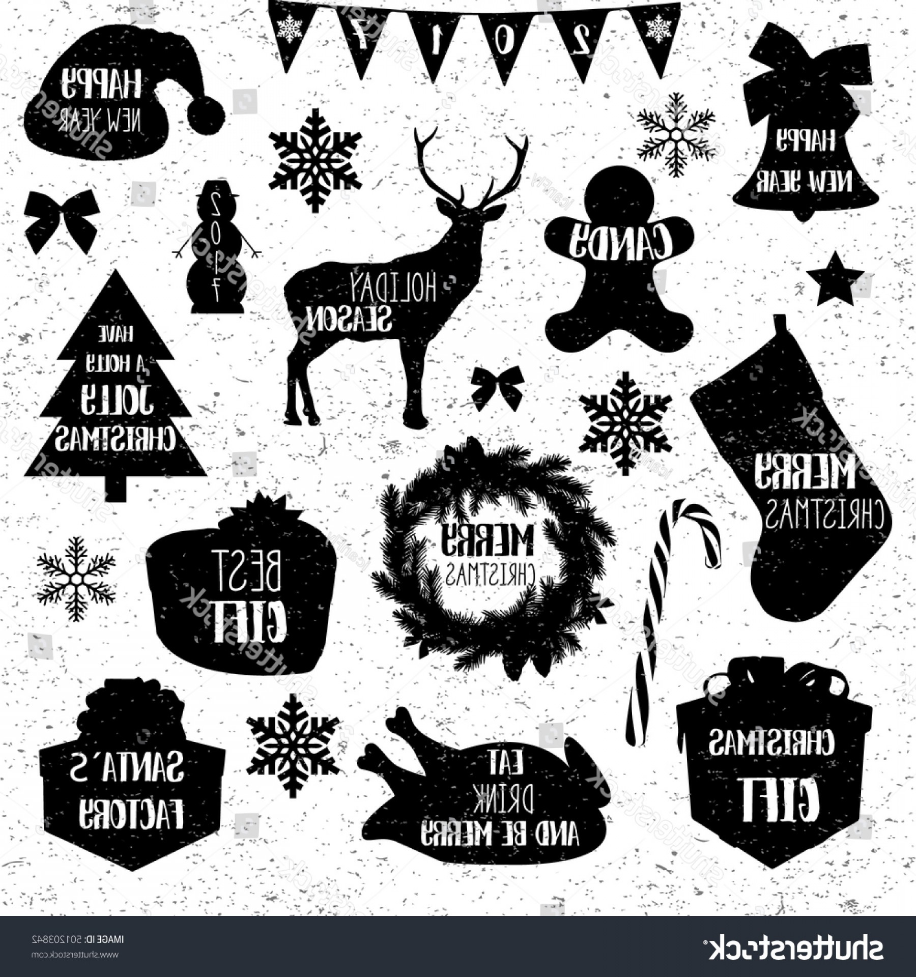 Black And White Candy Vector: Christmas Icons Merry Vintage Grunge Black