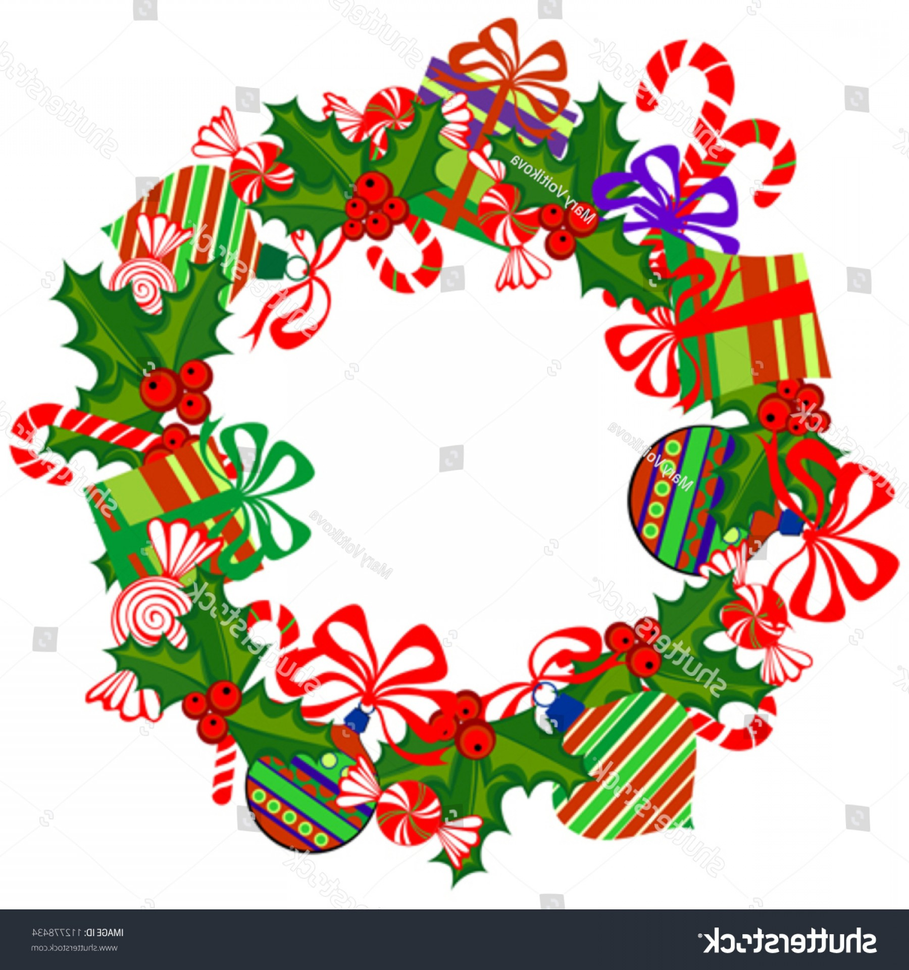 Advent Wreath Vector: Christmas Isolated Advent Wreath On White