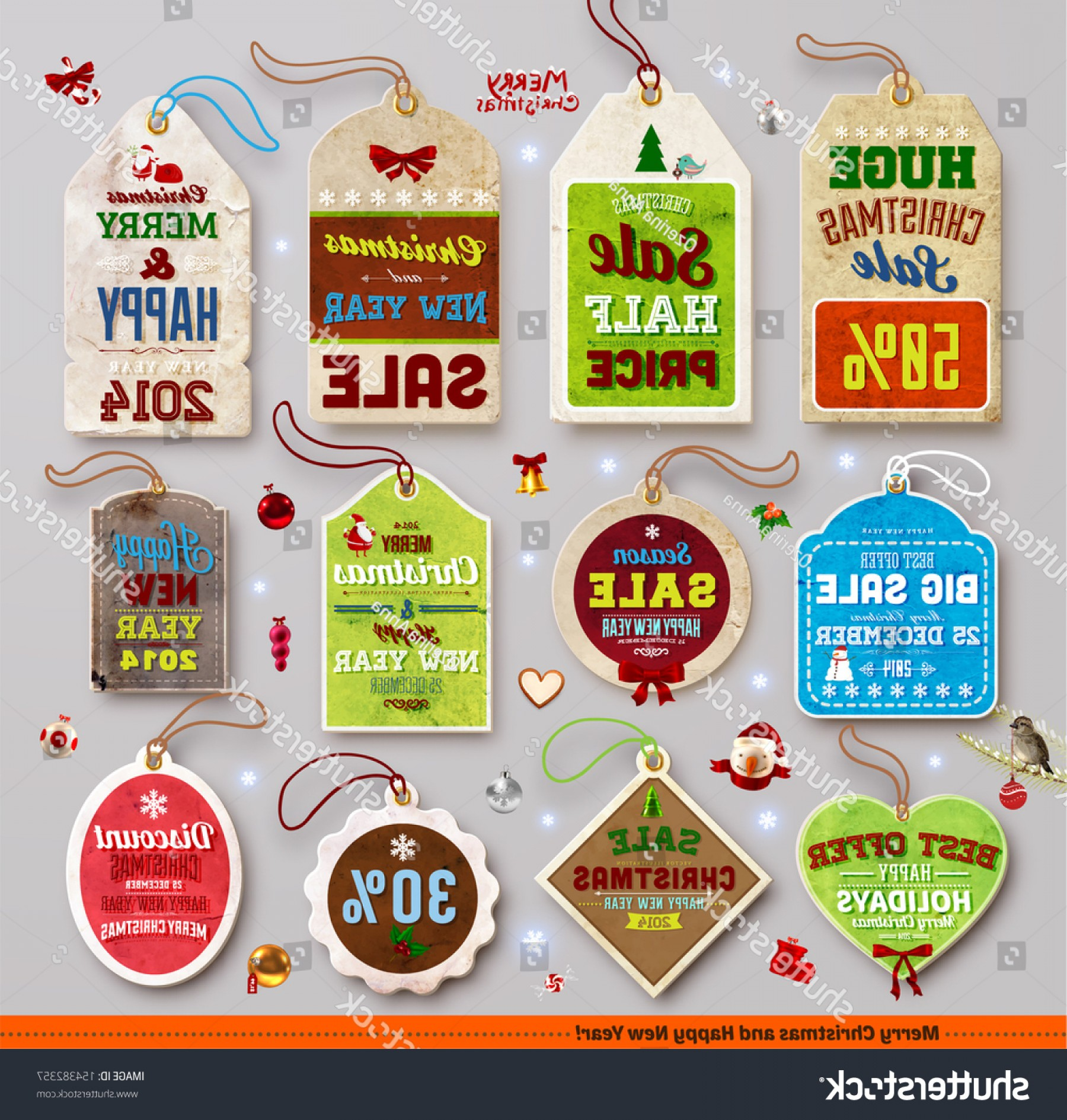 Vintage Xmas Sale Tag Vector: Christmas Labels Tags Badges Holiday Icons