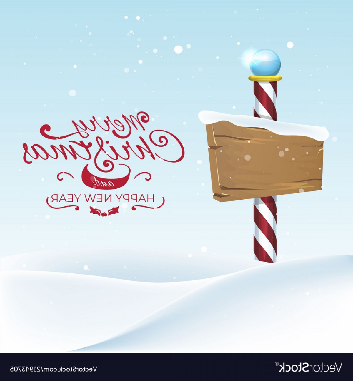 North Pole Landscape Vector: Christmas Landscape With North Pole Sing Vector