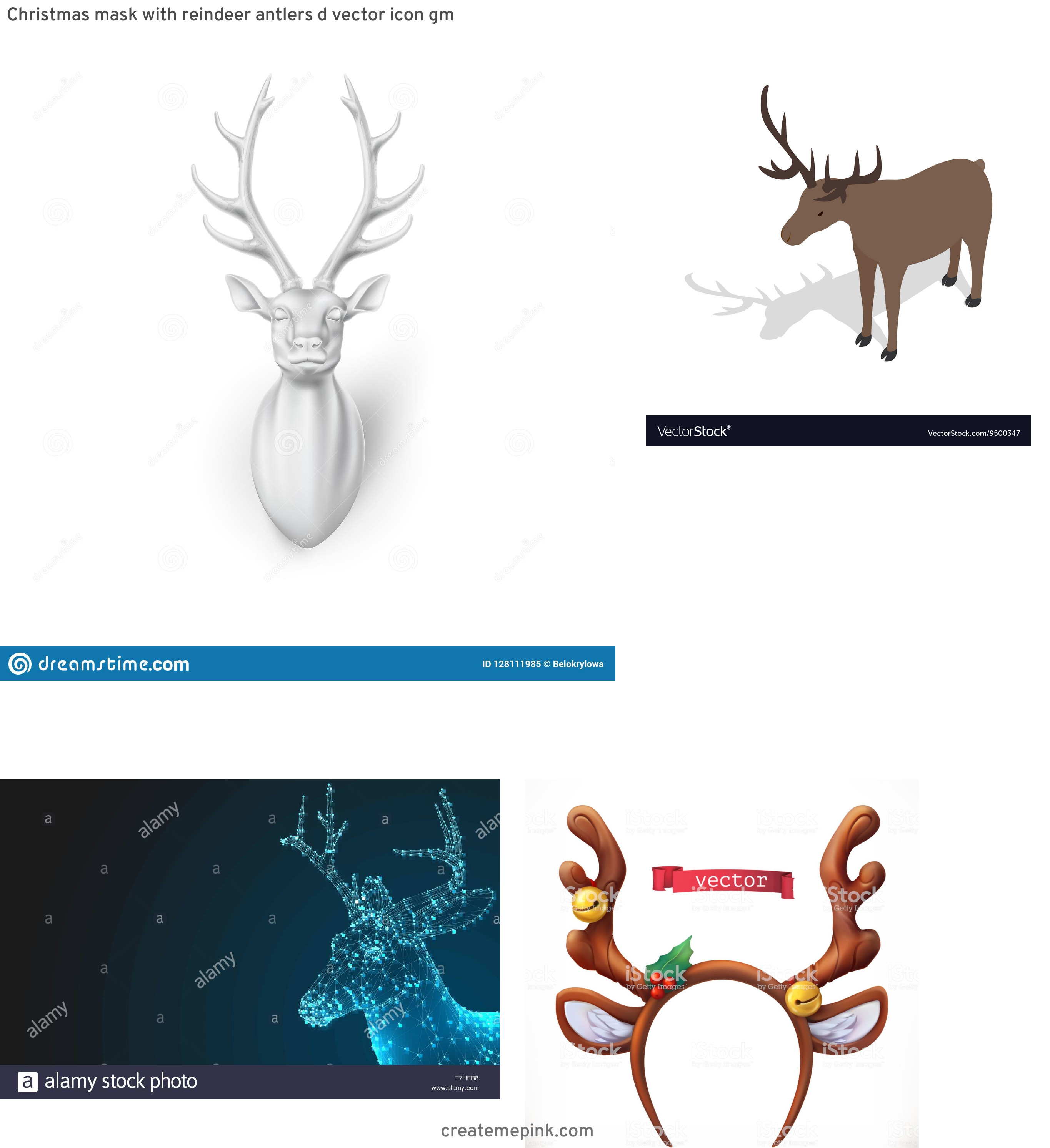 3D Vector Of A Deer: Christmas Mask With Reindeer Antlers D Vector Icon Gm